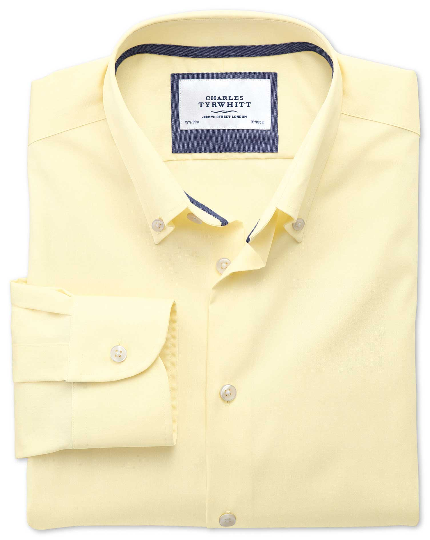 Slim Fit Button-Down Collar Non-Iron Business Casual Yellow Cotton Formal Shirt Single Cuff Size 14.