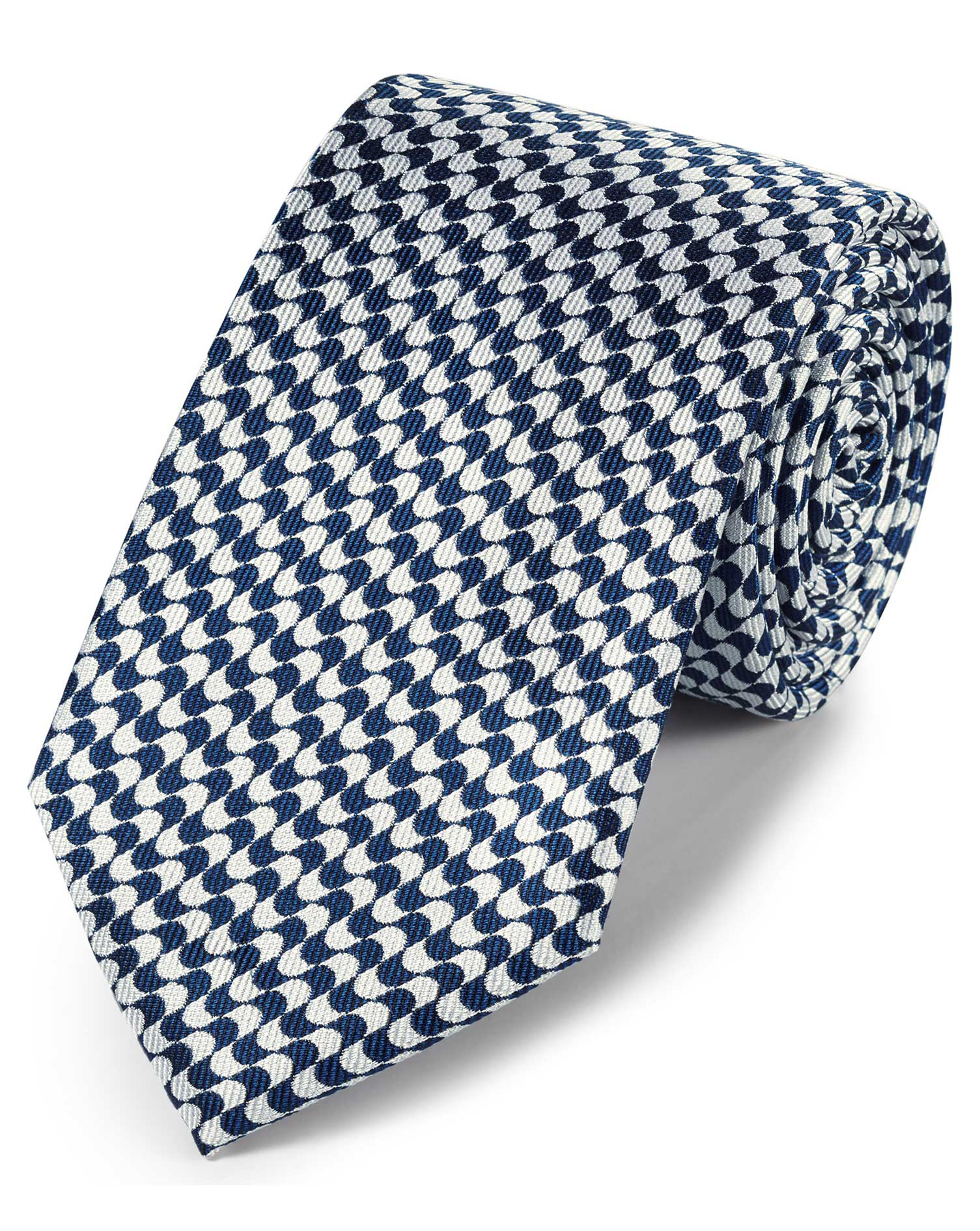Navy Blue and White Silk Geometric Classic Tie Size OSFA by Charles Tyrwhitt