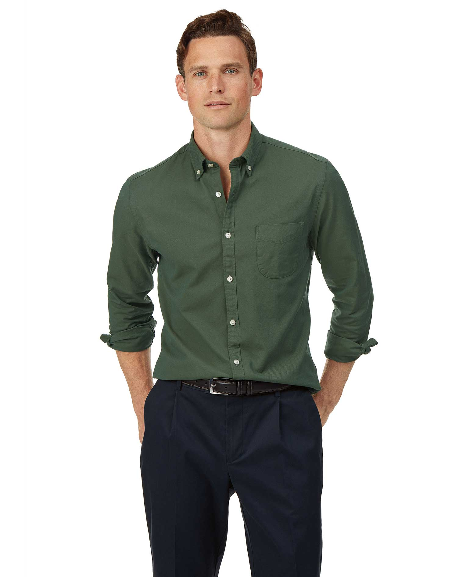 Cotton Extra Slim Fit Button-Down Washed Oxford Green Shirt