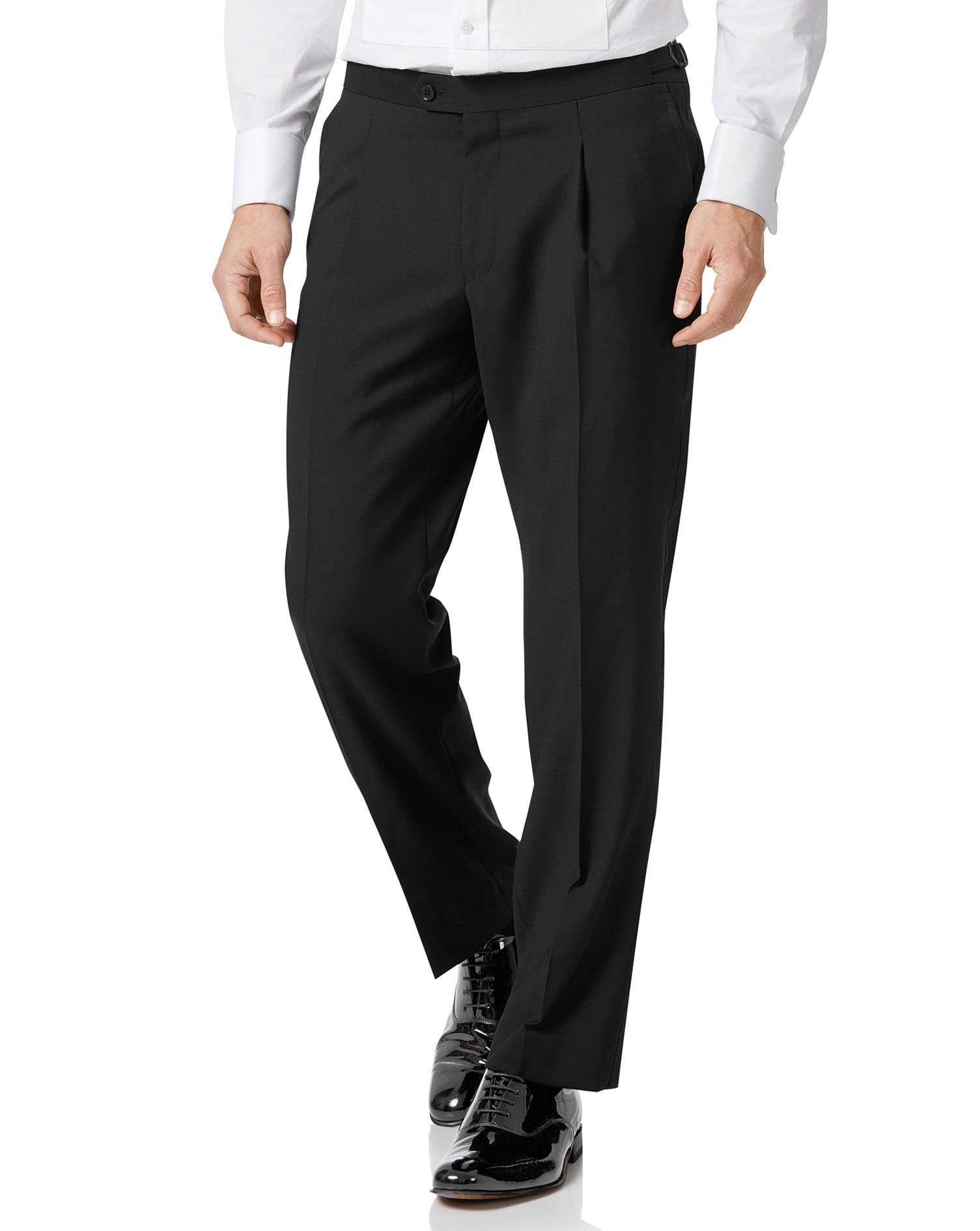 Black Classic Fit Tuxedo Trousers Size W32 L32 by Charles Tyrwhitt thumbnail