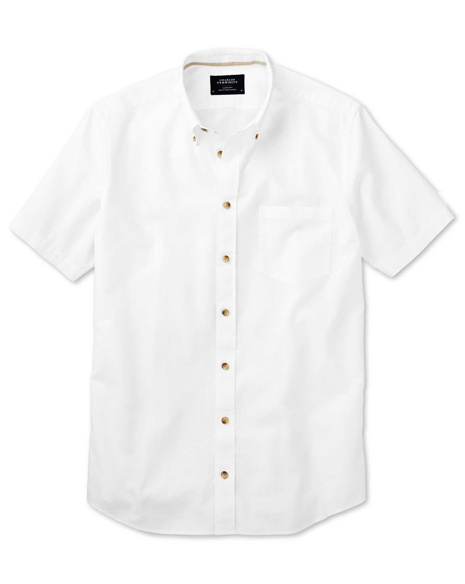 Classic Fit Short Sleeve White Shirt Single Cuff Size Small by Charles Tyrwhitt
