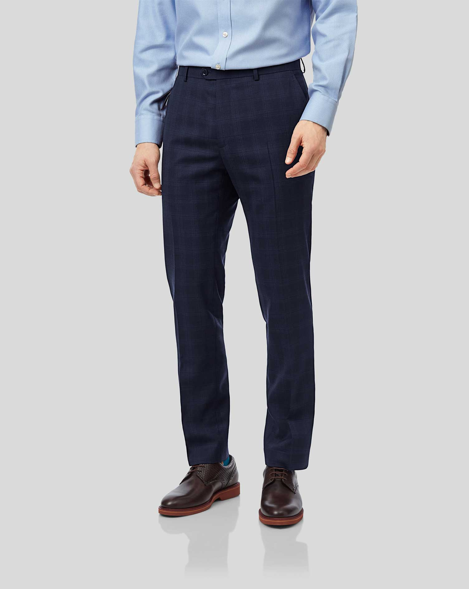 Wool Midnight Blue Check Slim Fit Suit Trousers