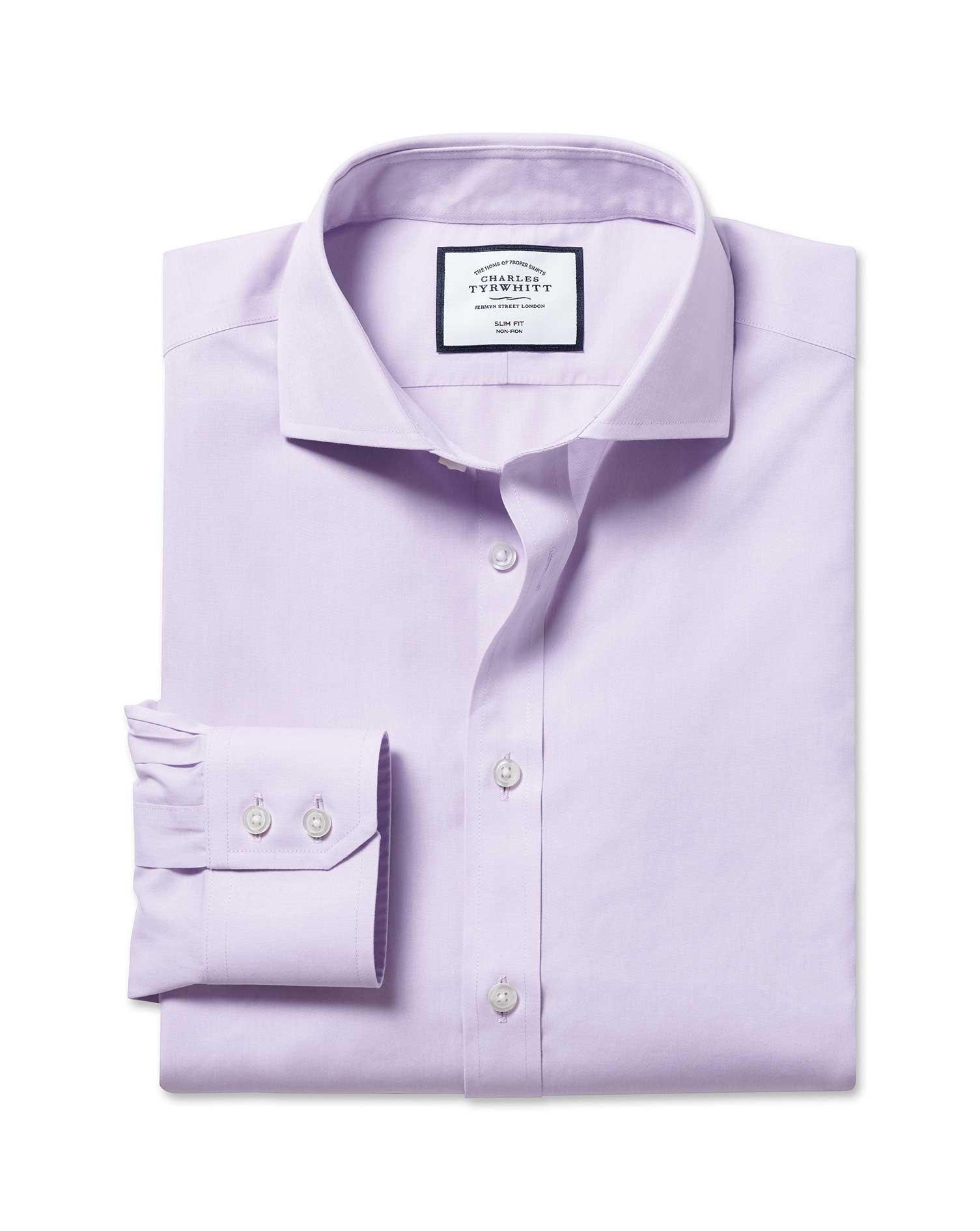 Slim Fit Non-Iron Cutaway Collar Poplin Lilac Cotton Formal Shirt Single Cuff Size 16/32 by Charles
