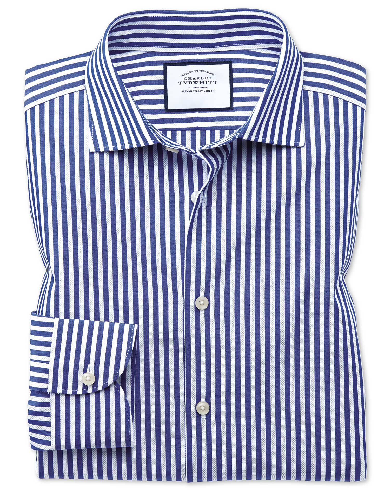 Slim Fit Business Casual Leno Texture Blue and White Stripe Cotton Formal Shirt Single Cuff Size 15.