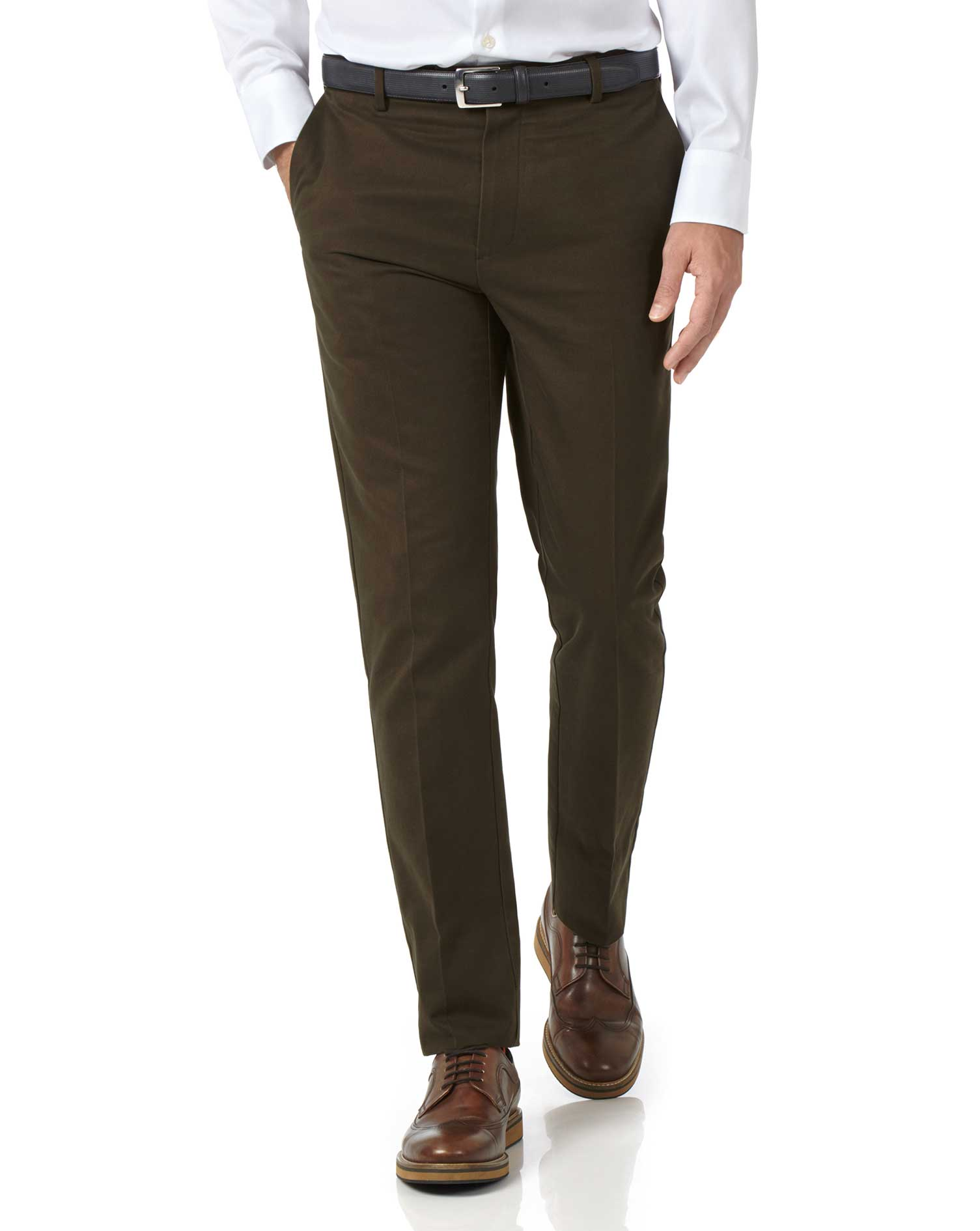 Brown Extra Slim Fit Flat Front Non-Iron Cotton Chino Trousers Size W32 L29 by Charles Tyrwhitt