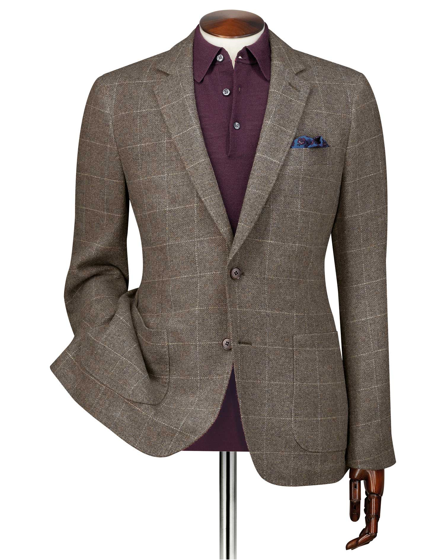 Slim Fit Brown Checkered Modern Wool Blazer Size 44 Long by Charles Tyrwhitt