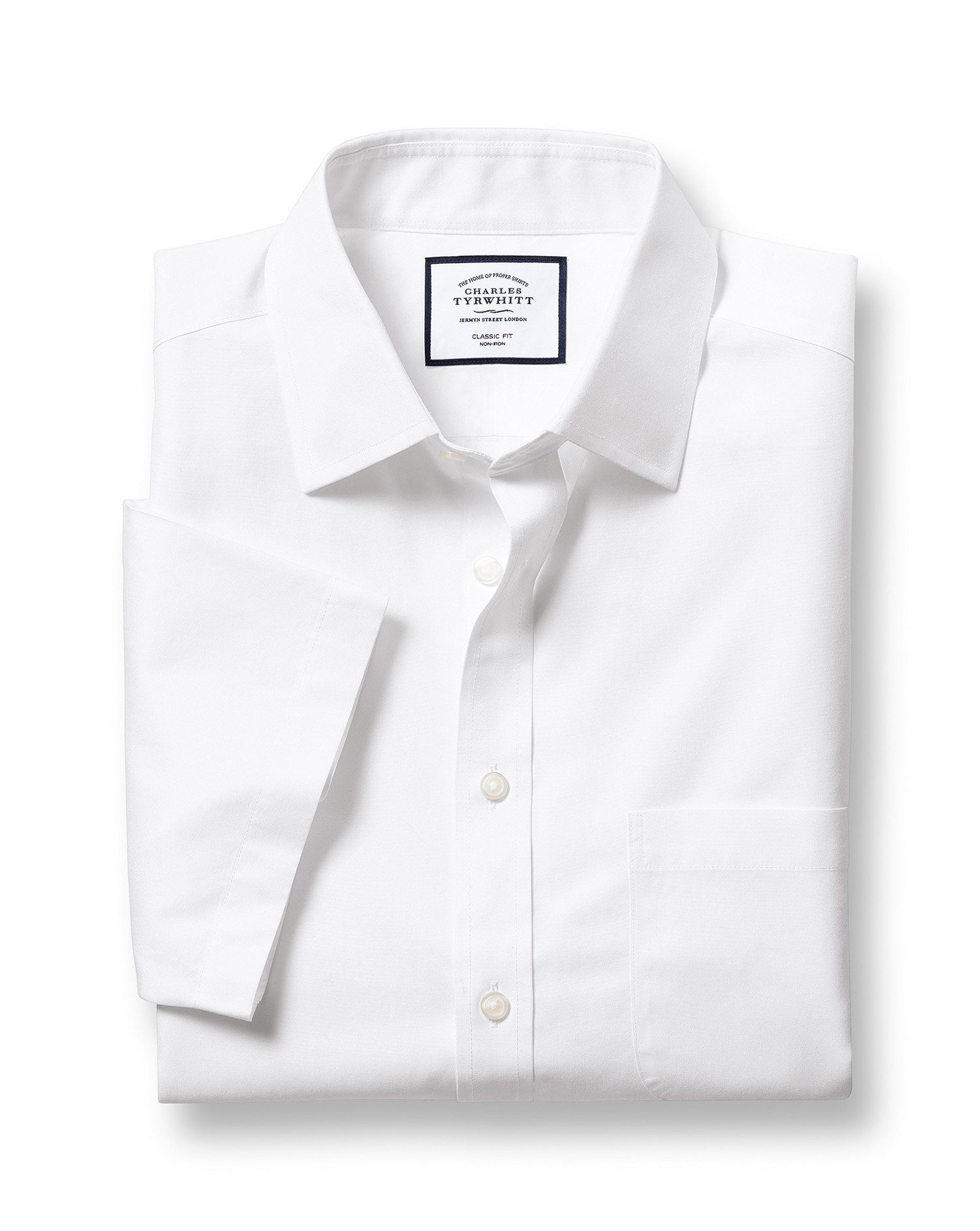 Classic Fit Non-Iron Natural Cool Short Sleeve White Cotton Formal Shirt Size 15/Short by Charles Ty
