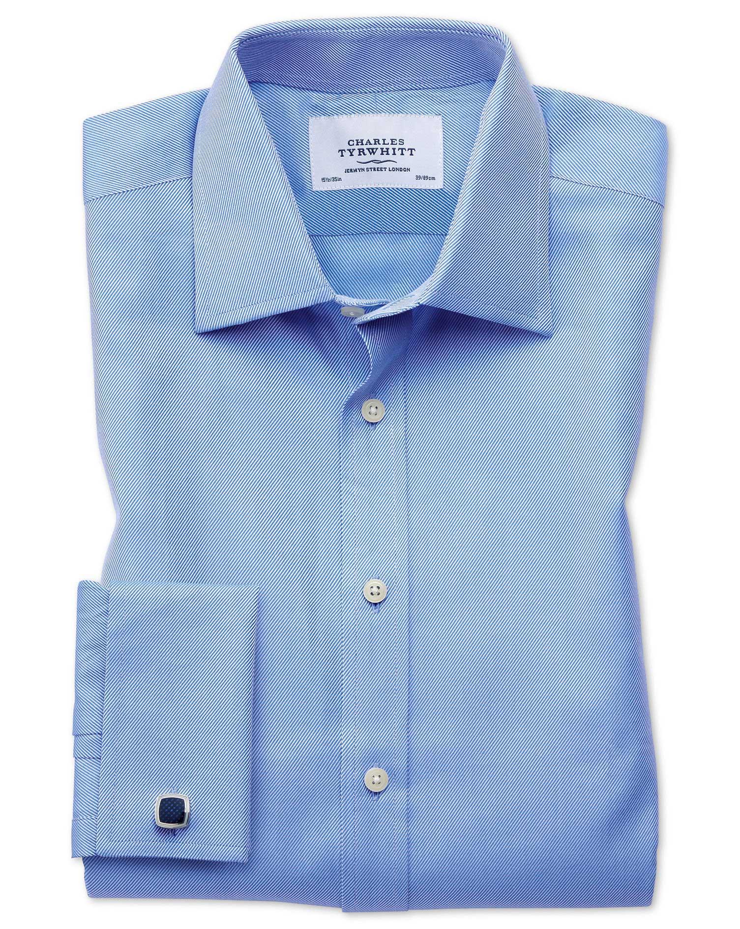 Slim Fit Egyptian Cotton Cavalry Twill Blue Formal Shirt Single Cuff Size 17/38 by Charles Tyrwhitt
