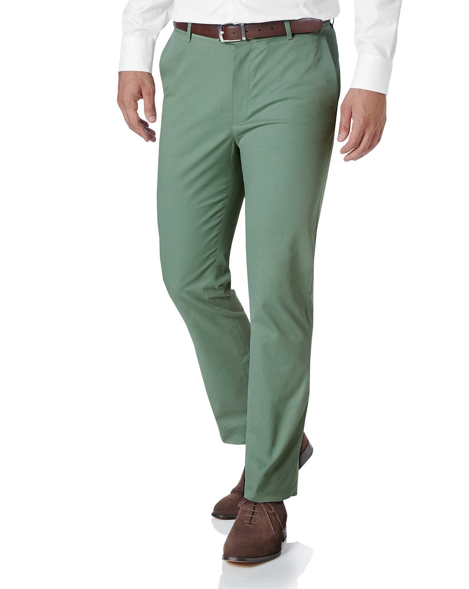 Light Green Slim Fit Stretch Cotton Chino Trousers Size W38 L34 by Charles Tyrwhitt