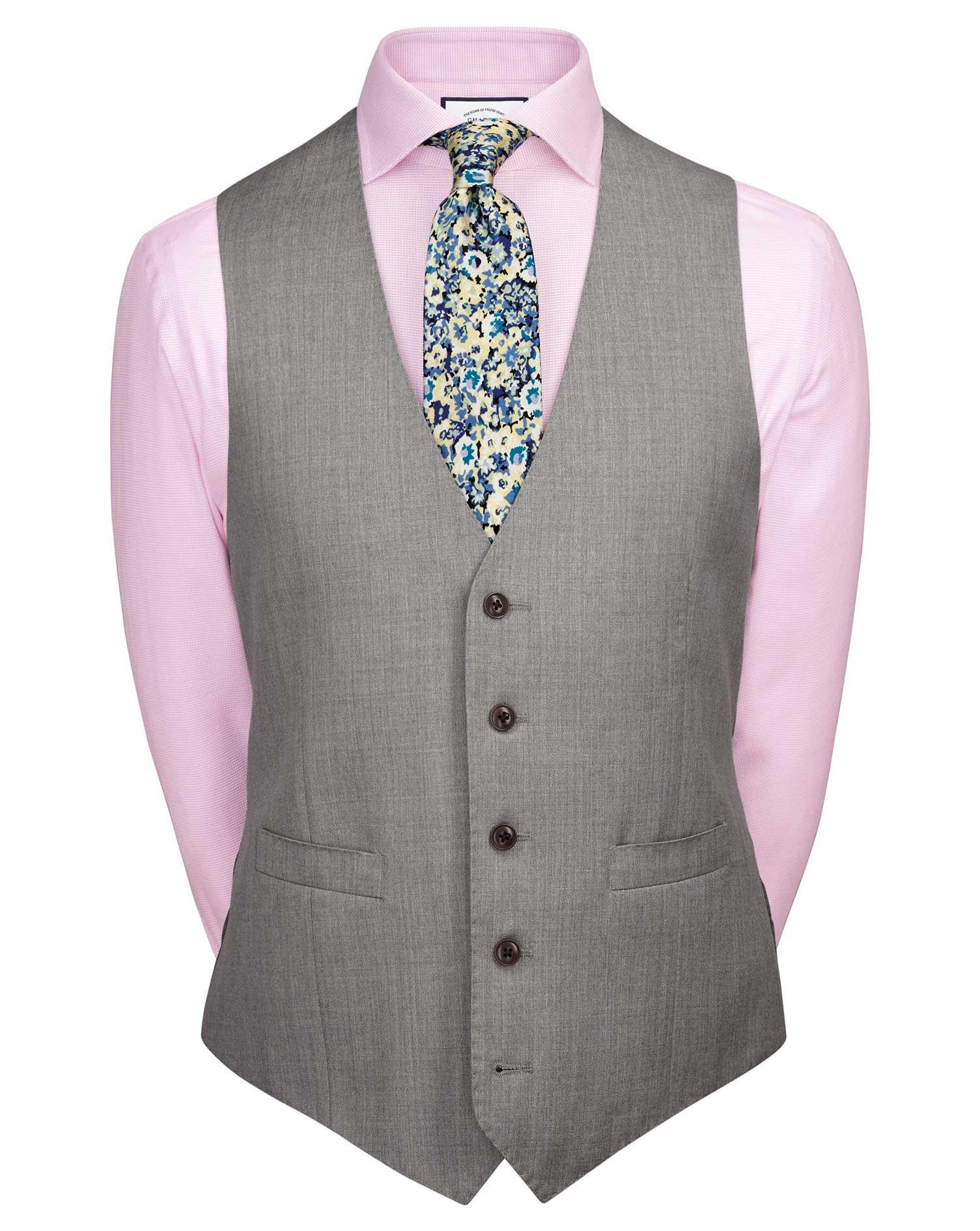 Silver Adjustable Fit Italian Suit Wool Waistcoat Size w42 by Charles Tyrwhitt