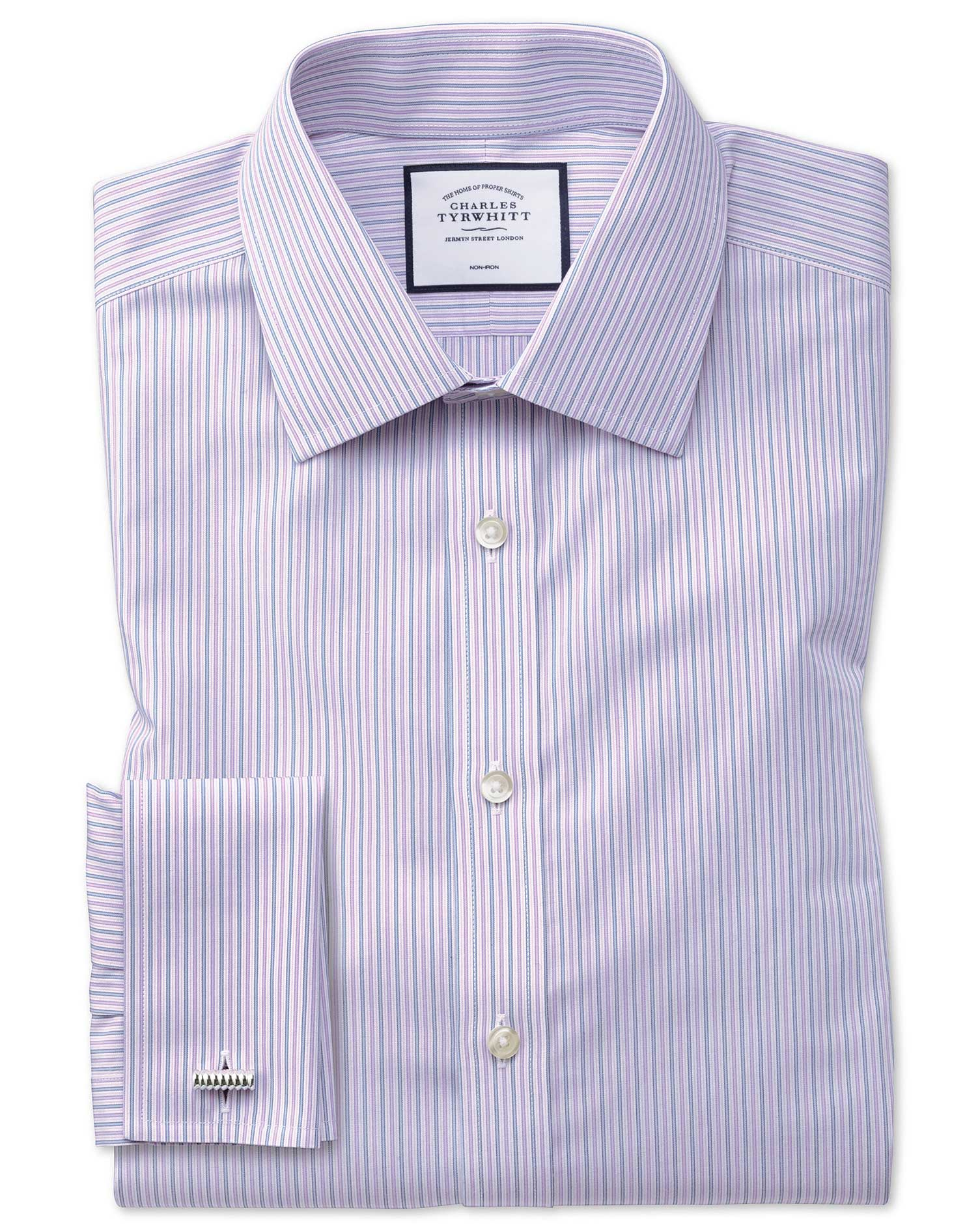 Slim Fit Non-Iron Lilac and Blue Multi Stripe Cotton Formal Shirt Double Cuff Size 15.5/33 by Charle