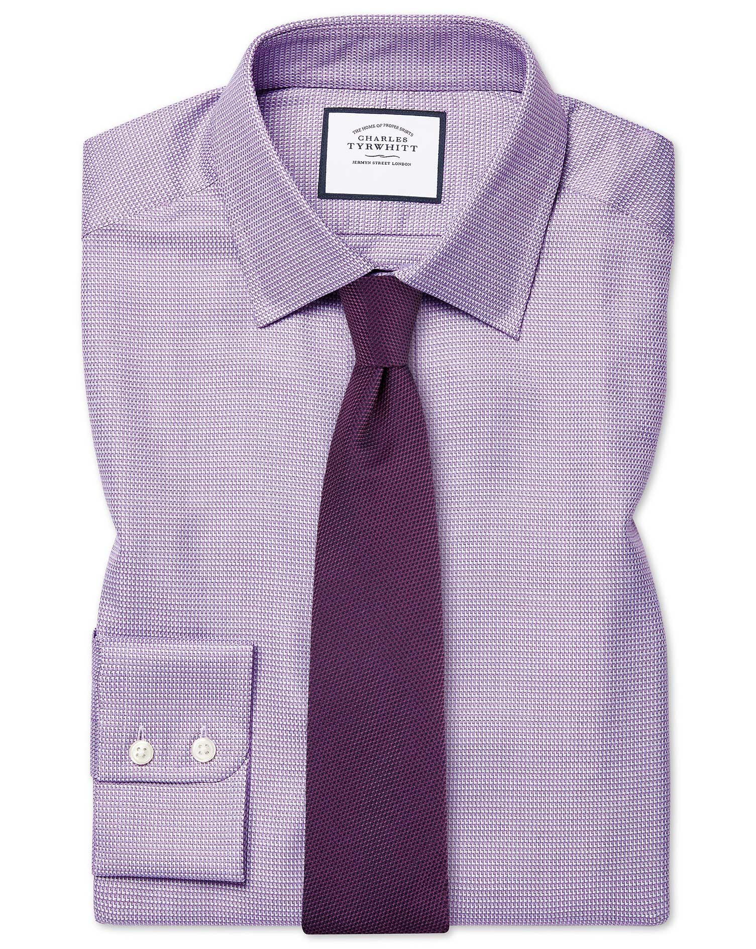 Slim Fit Egyptian Cotton Chevron Purple Formal Shirt Double Cuff Size 17.5/34 by Charles Tyrwhitt