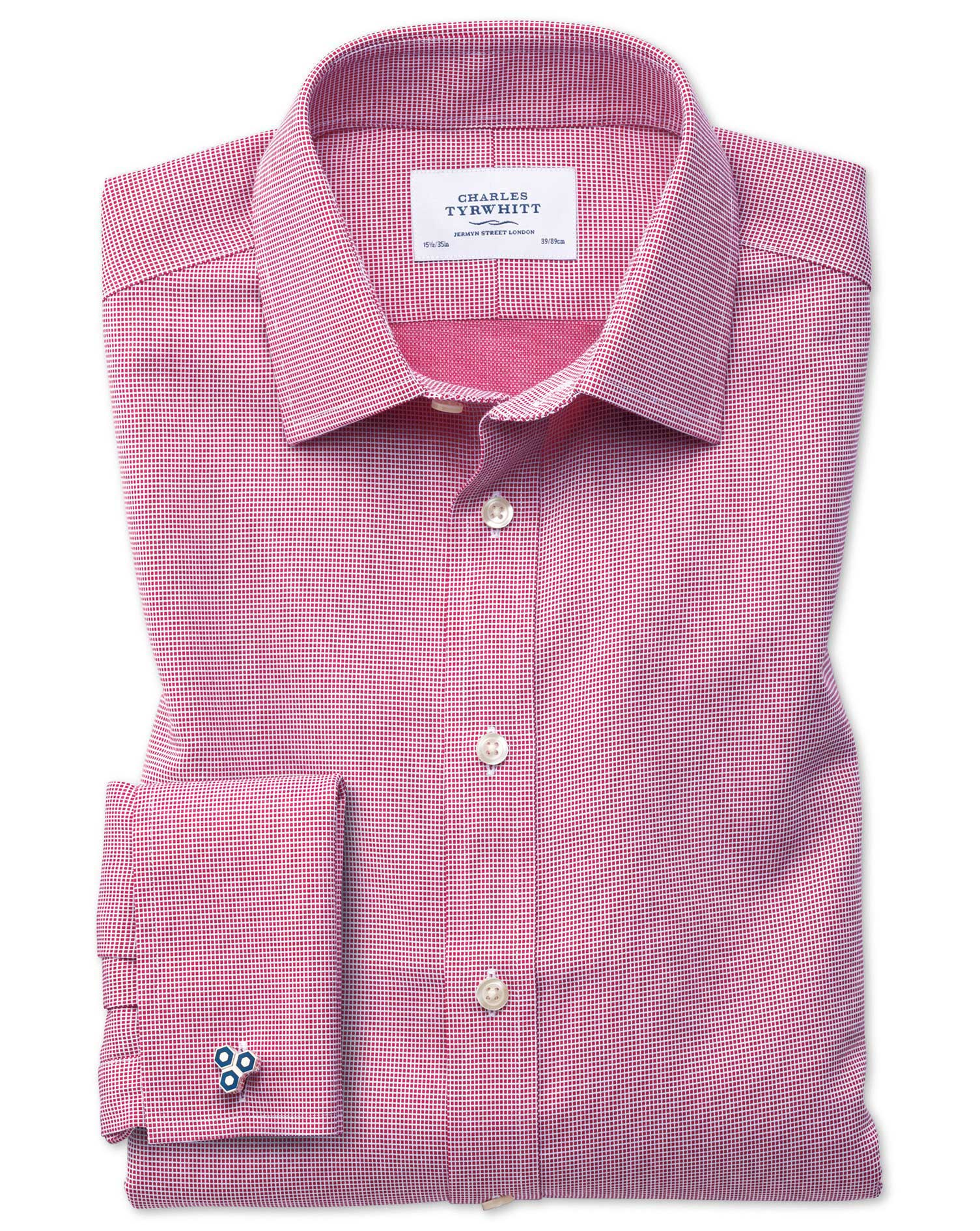 Slim Fit Non-Iron Square Weave Magenta Cotton Formal Shirt Double Cuff Size 16.5/35 by Charles Tyrwh