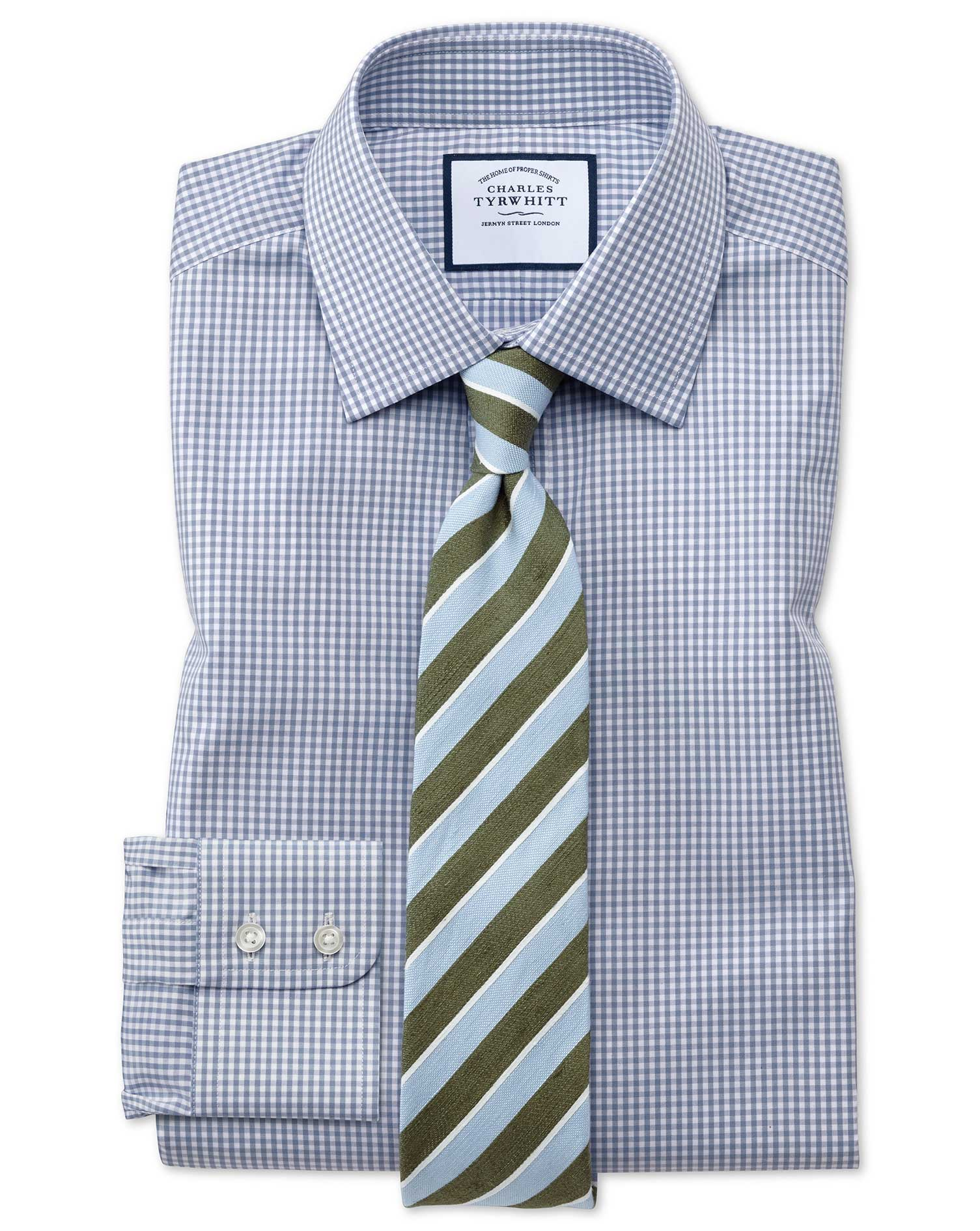Extra Slim Fit Small Gingham Grey Cotton Formal Shirt Single Cuff Size 15.5/34 by Charles Tyrwhitt