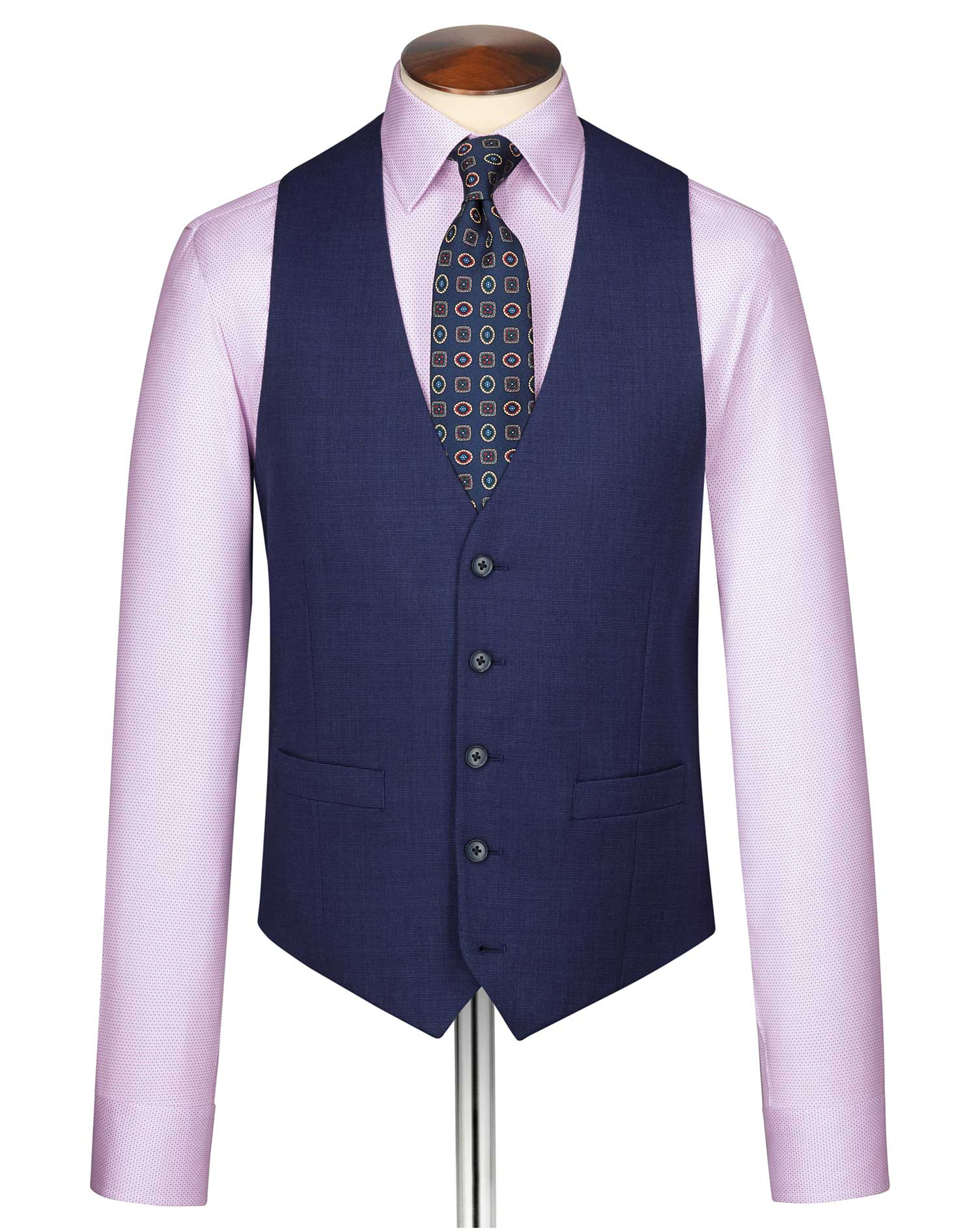 Indigo End-On-End Business Suit Wool Waistcoat Size w48 by Charles Tyrwhitt