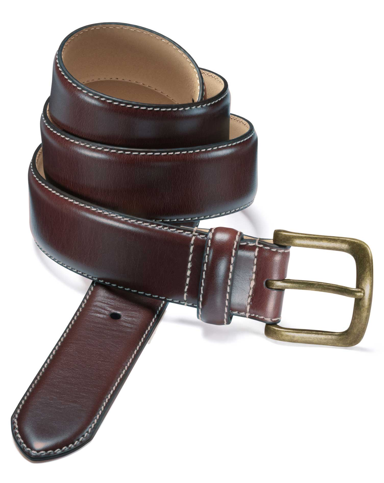 Brown Leather Chino Belt Size 40 by Charles Tyrwhitt