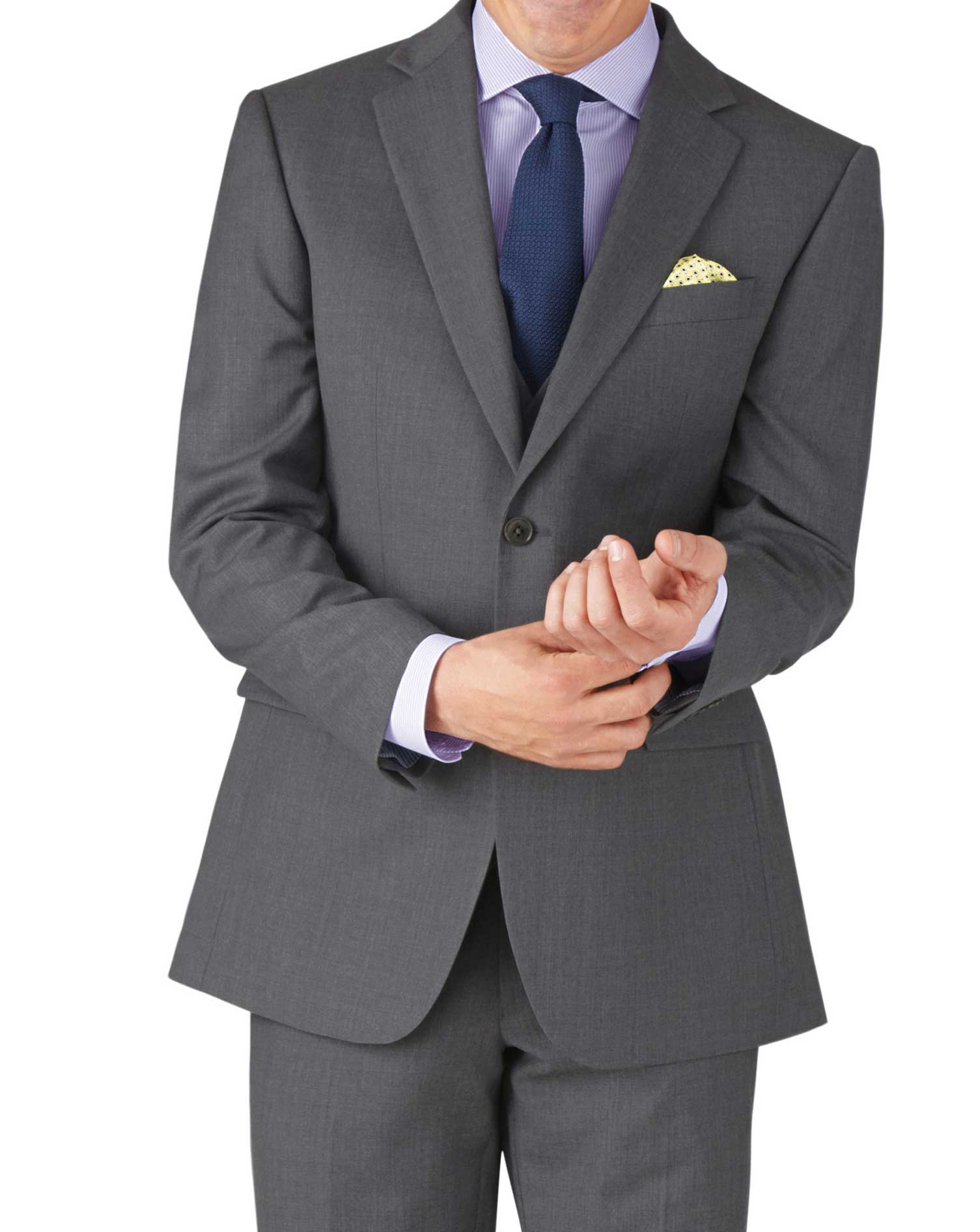 Mid Grey Classic Fit Twill Business Suit Wool Jacket Size 46 Regular by Charles Tyrwhitt
