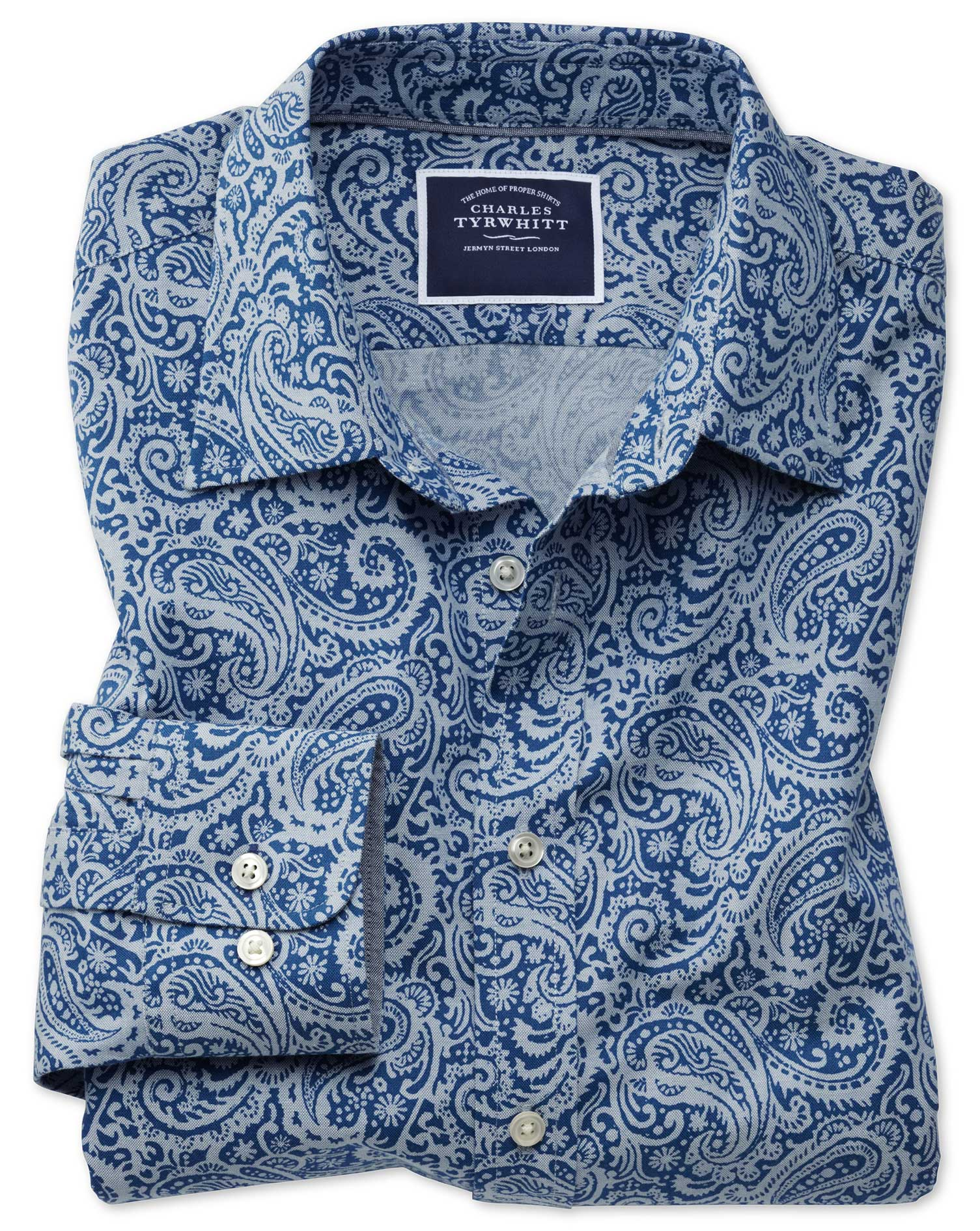 Classic Fit Non-Iron Chambray Royal Blue Paisley Print Cotton Shirt Single Cuff Size XL by Charles T