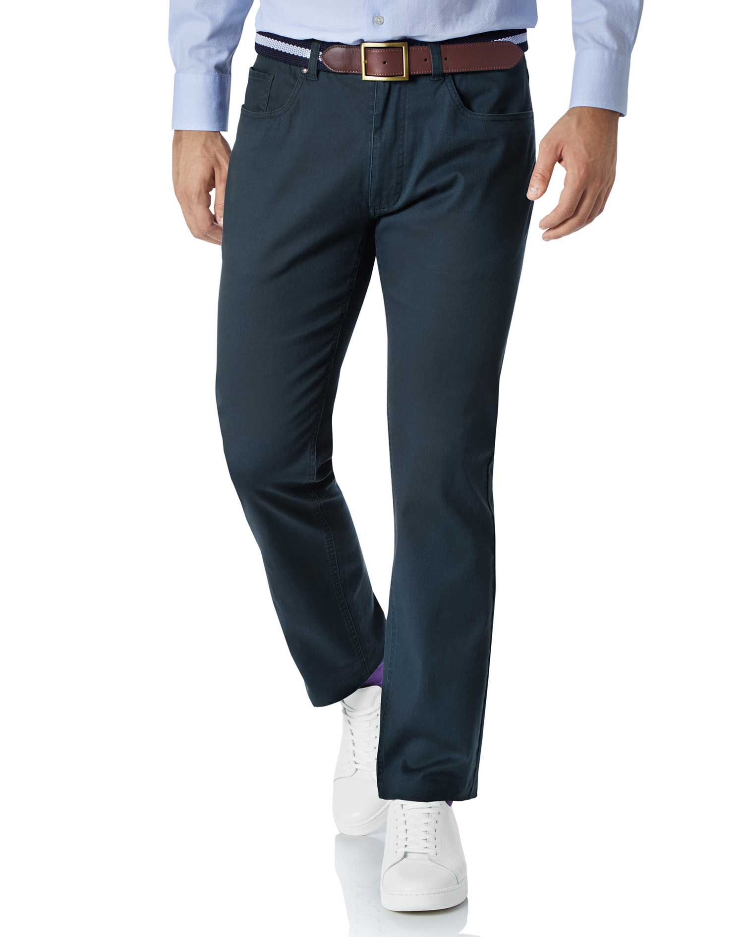 Teal Slim Fit 5 Pocket Trousers Size W30 L30 by Charles Tyrwhitt