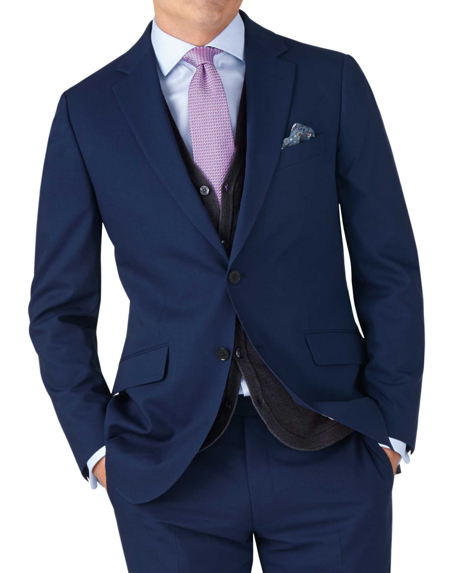Royal blue slim fit crepe business suit jacket