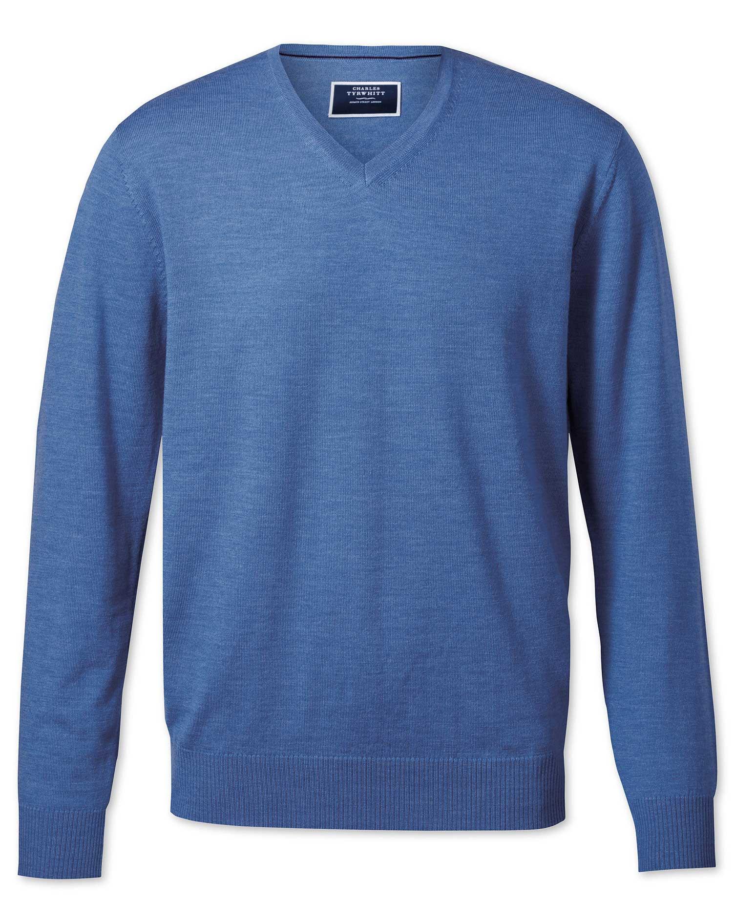 Blue Merino Wool V-Neck Jumper Size XS by Charles Tyrwhitt