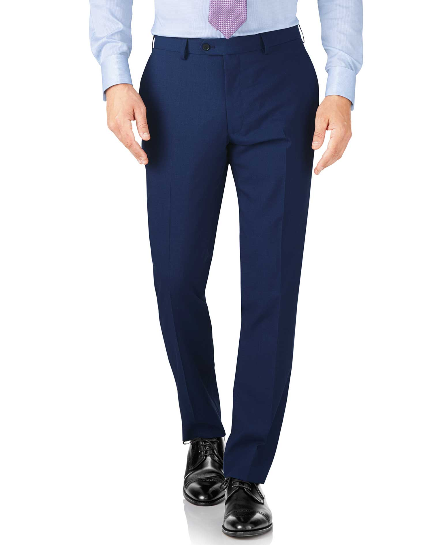 Royal Blue Slim Fit Crepe Business Suit Trousers Size W42 L38 by Charles Tyrwhitt