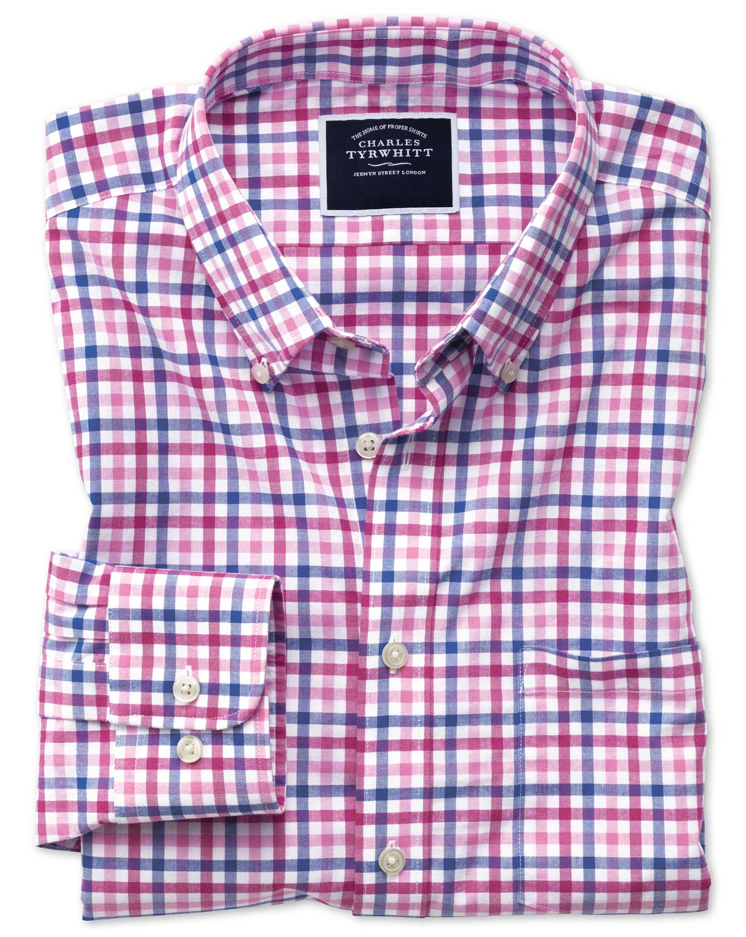 Slim Fit Poplin Pink Multi Gingham Cotton Shirt Single Cuff Size XL by Charles Tyrwhitt