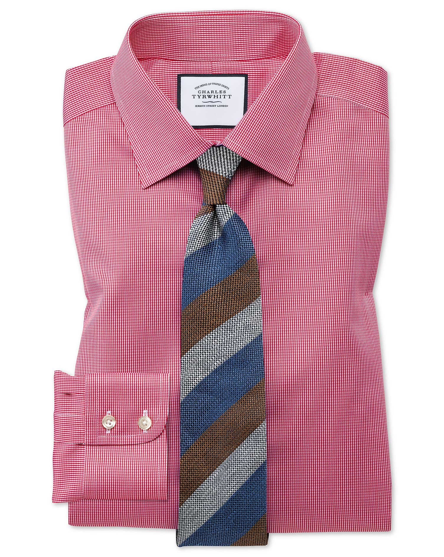 Classic fit non iron puppytooth bright pink shirt for What is a non iron shirt