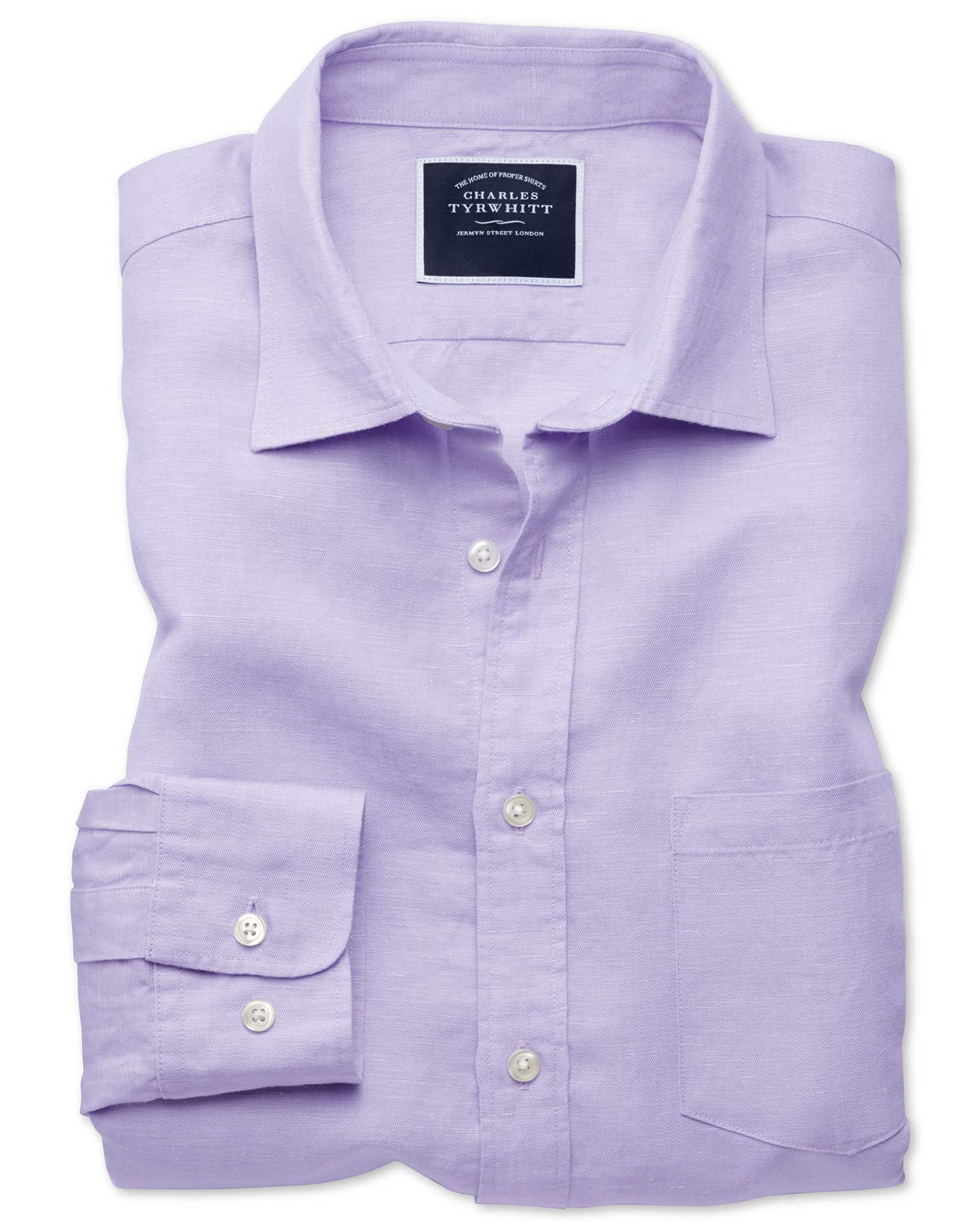 Slim Fit Lilac Tencel™ With Linen Shirt Single Cuff Size Medium by Charles Tyrwhitt