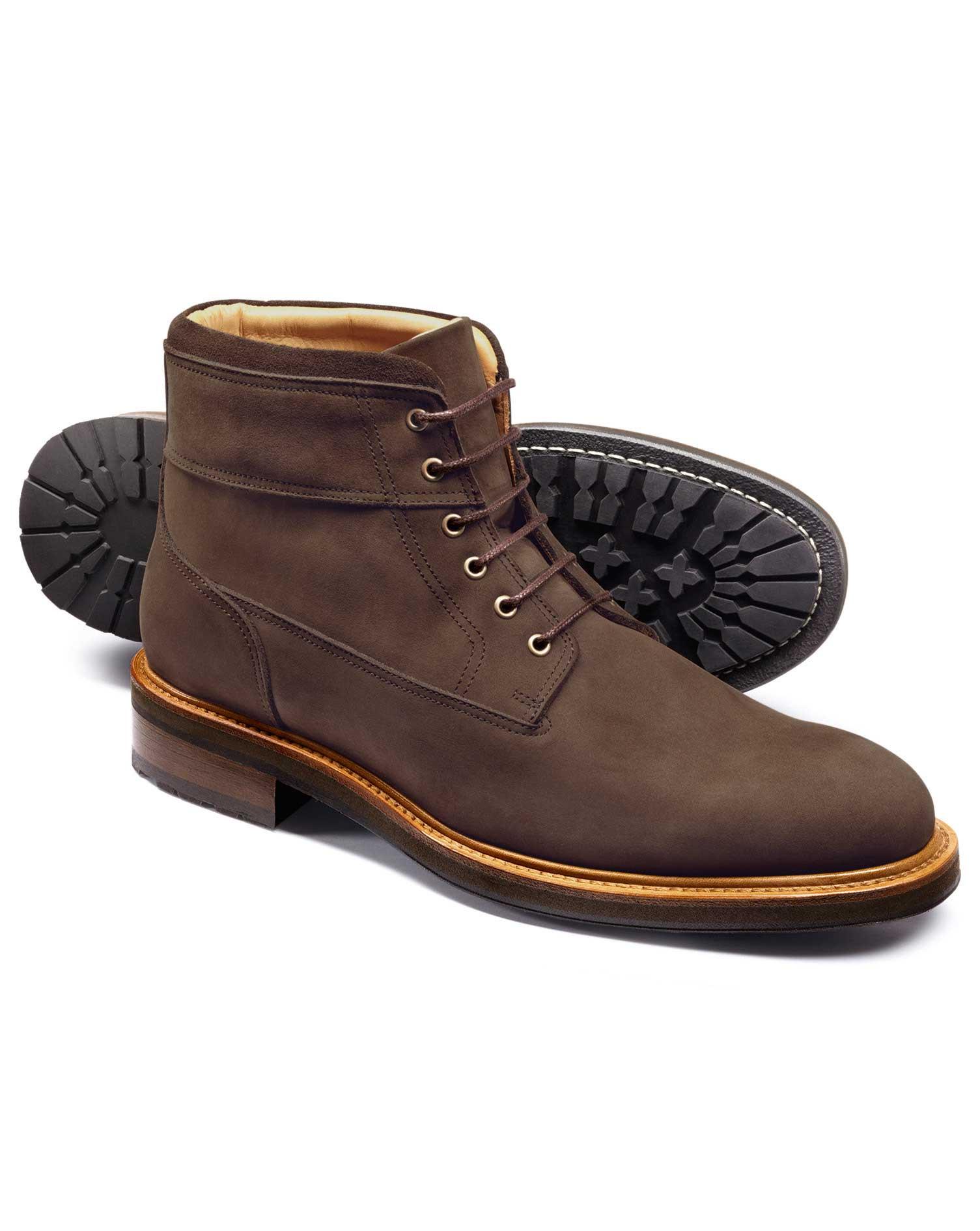 Dark Brown Nubuck Leather Commando Boots Size 13 R by Charles Tyrwhitt