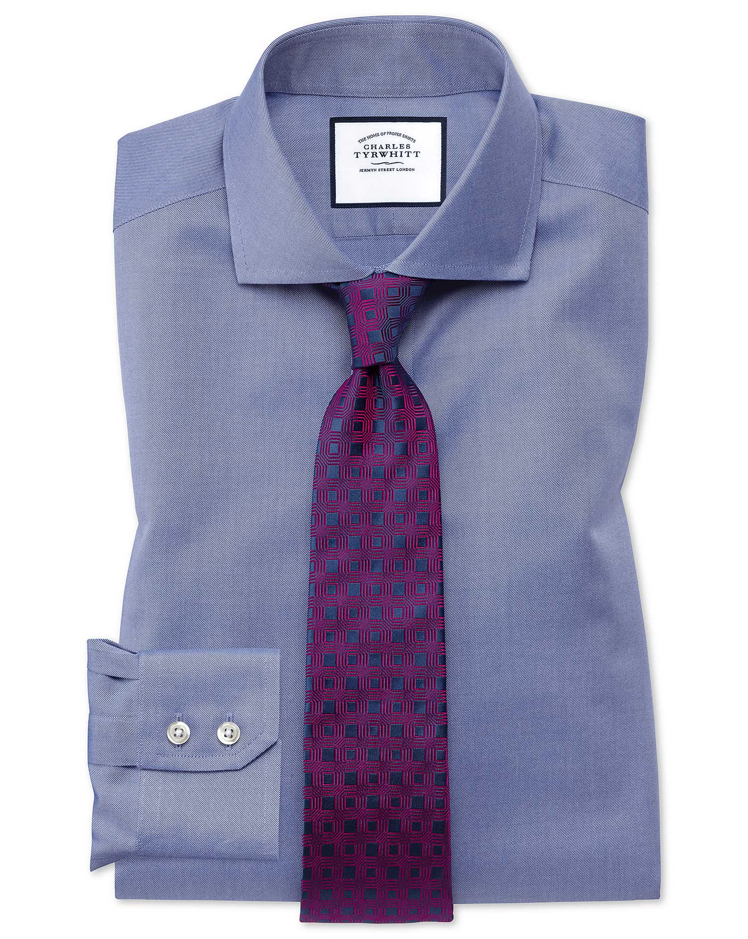 Slim Fit Mid-Blue Non-Iron Twill Cutaway Collar Cotton Formal Shirt Single Cuff Size 15.5/34 by Char