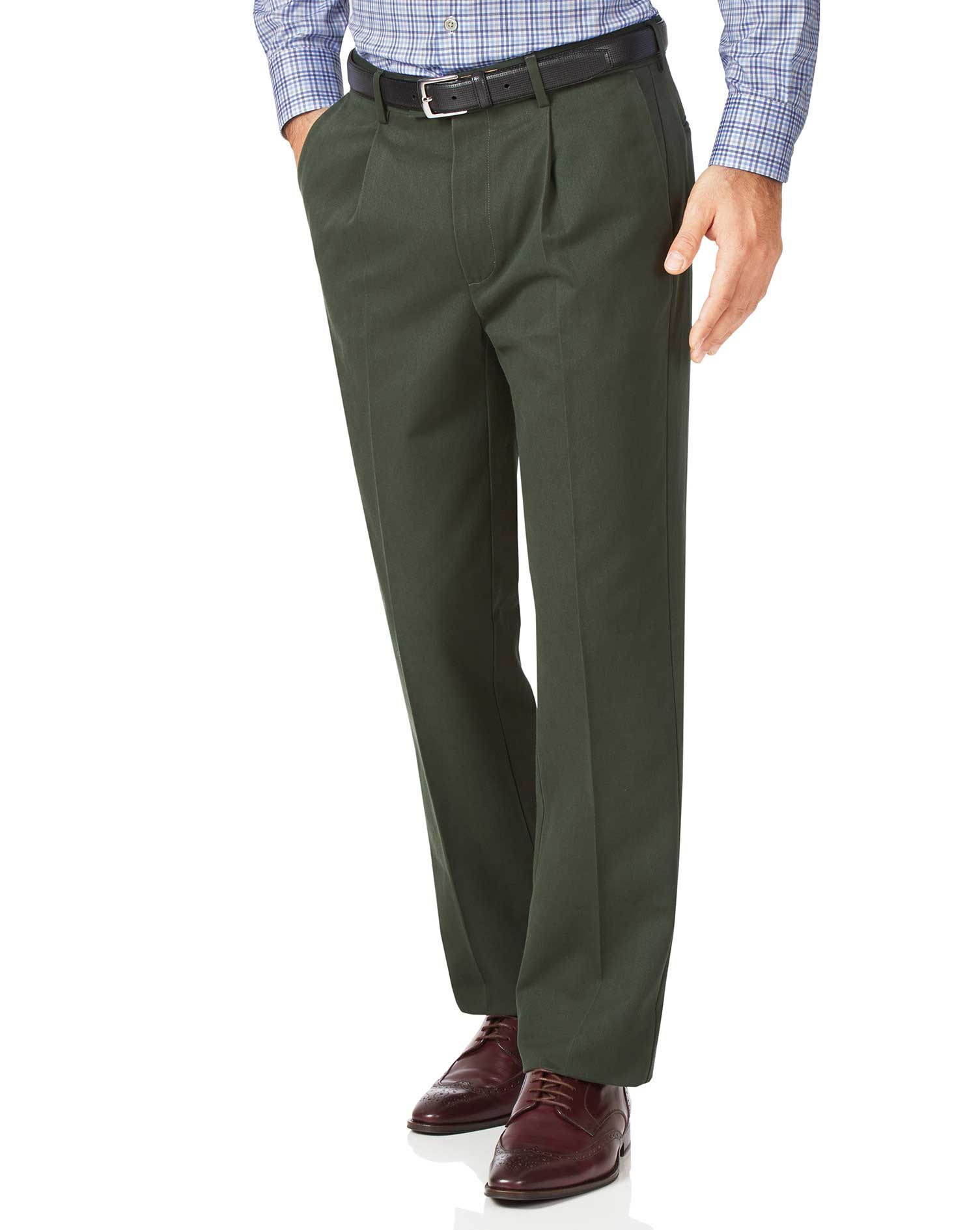 Dark Green Classic Fit Single Pleat Non-Iron Cotton Chino Trousers Size W32 L30 by Charles Tyrwhitt
