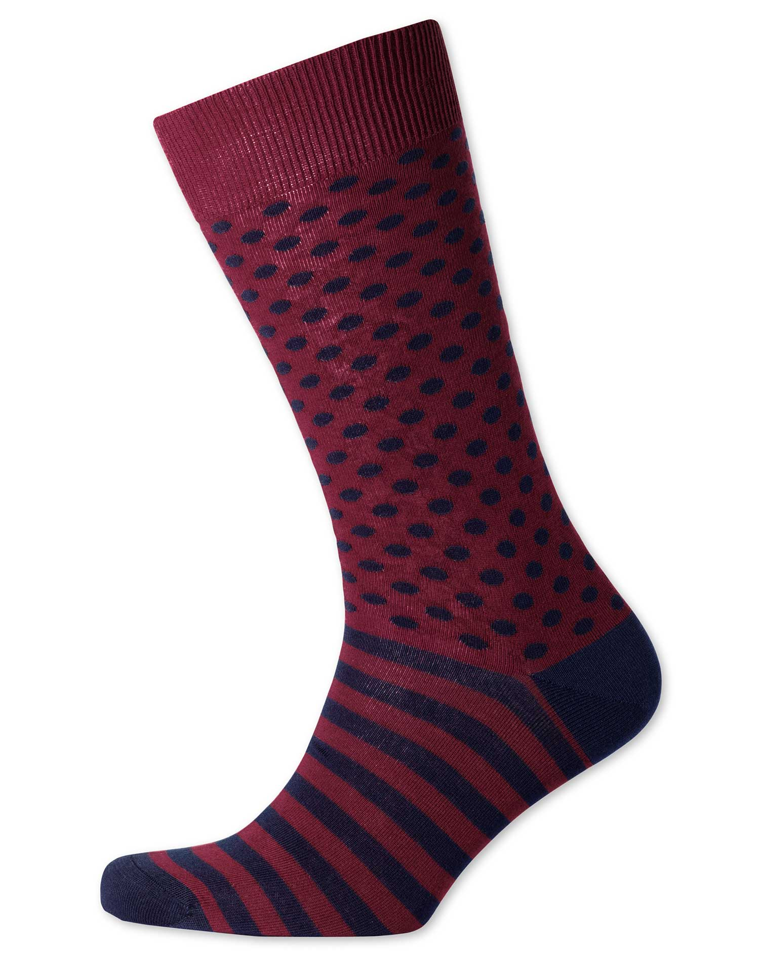 Burgundy and Navy Spot and Stripe Socks Size Medium by Charles Tyrwhitt