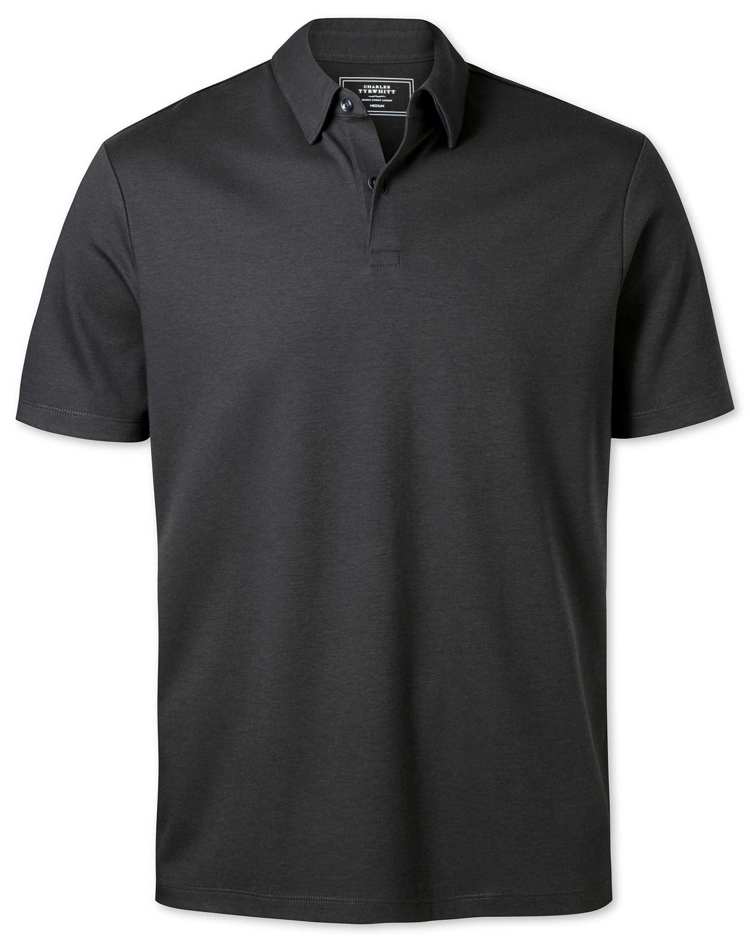 Plain Charcoal Jersey Cotton Polo Size Medium by Charles Tyrwhitt