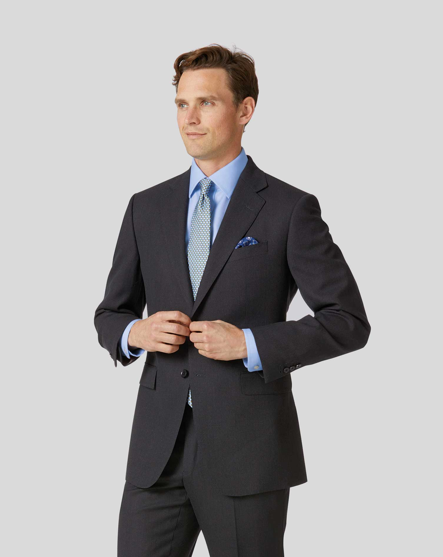 Charcoal classic fit birdseye travel suit jacket
