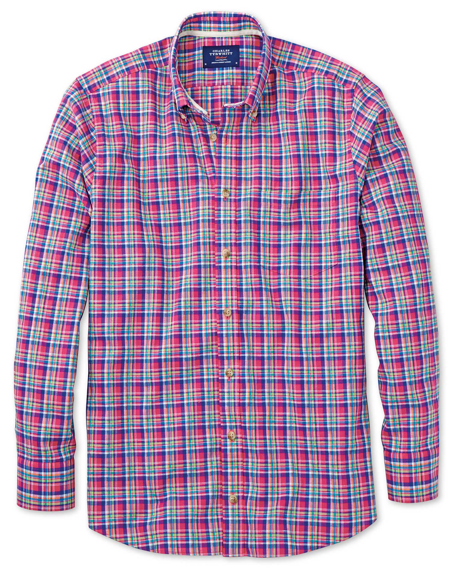Slim Fit Pink and Green Check Shirt Single Cuff Size Large by Charles Tyrwhitt