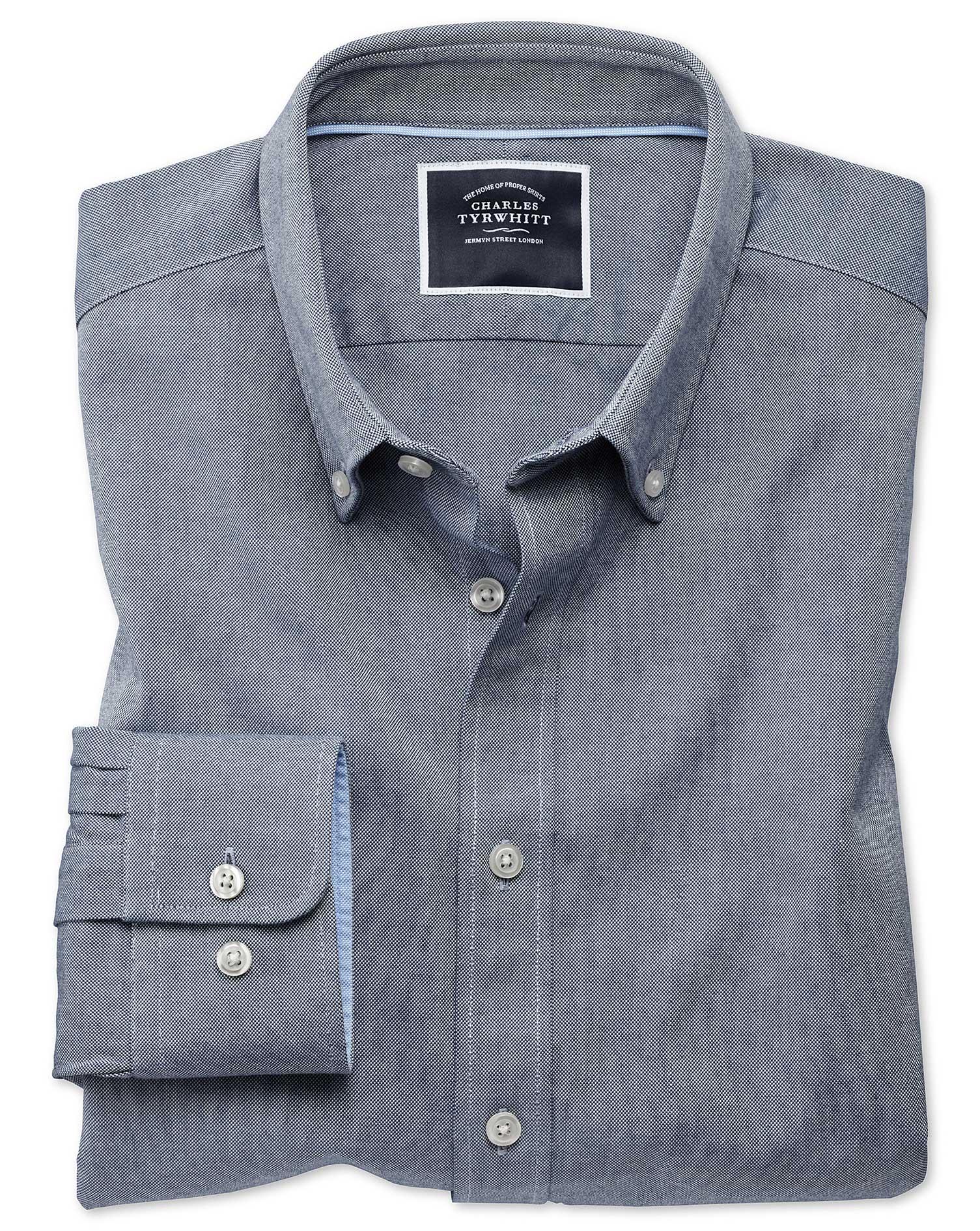 extra slim fit denim blue washed oxford cotton casual shirt single cuff size xl by charles tyrwhitt