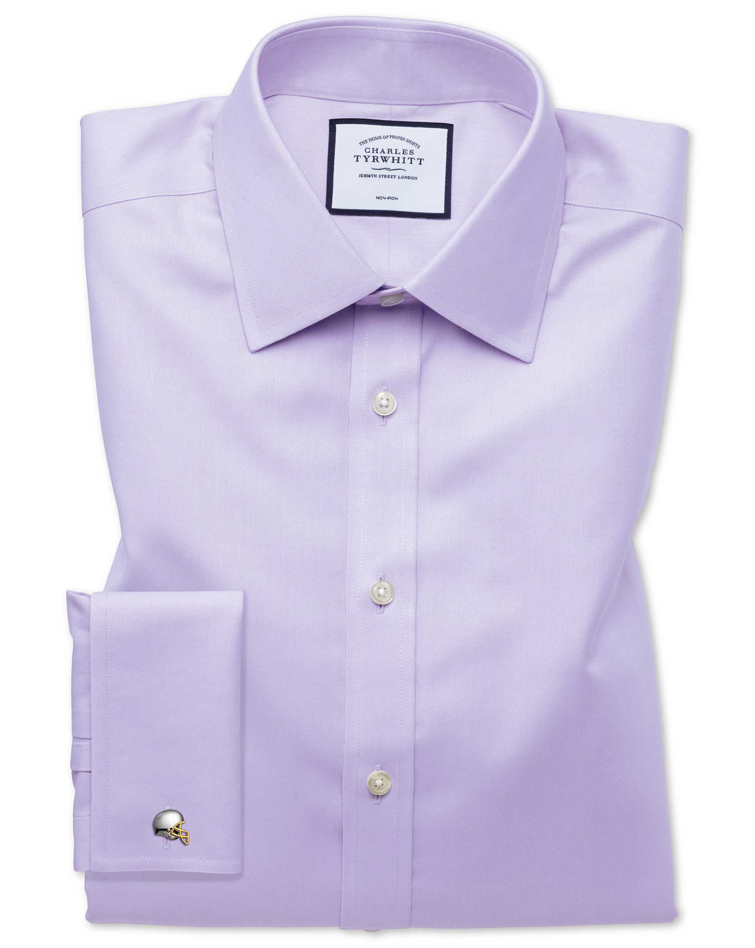 Classic Fit Non-Iron Twill Lilac Cotton Formal Shirt Double Cuff Size 15.5/33 by Charles Tyrwhitt