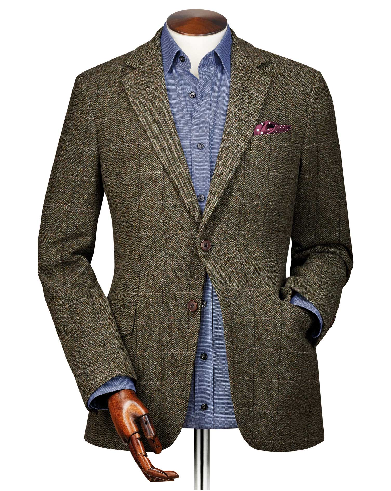 Slim Fit Green Herringbone Checkered Wool Jacket Size 46 Regular by Charles Tyrwhitt