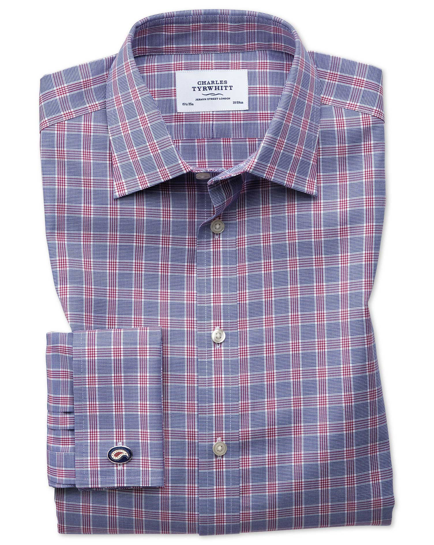Slim Fit Non-Iron Prince Of Wales Berry and Navy Blue Cotton Formal Shirt Single Cuff Size 16.5/34 b
