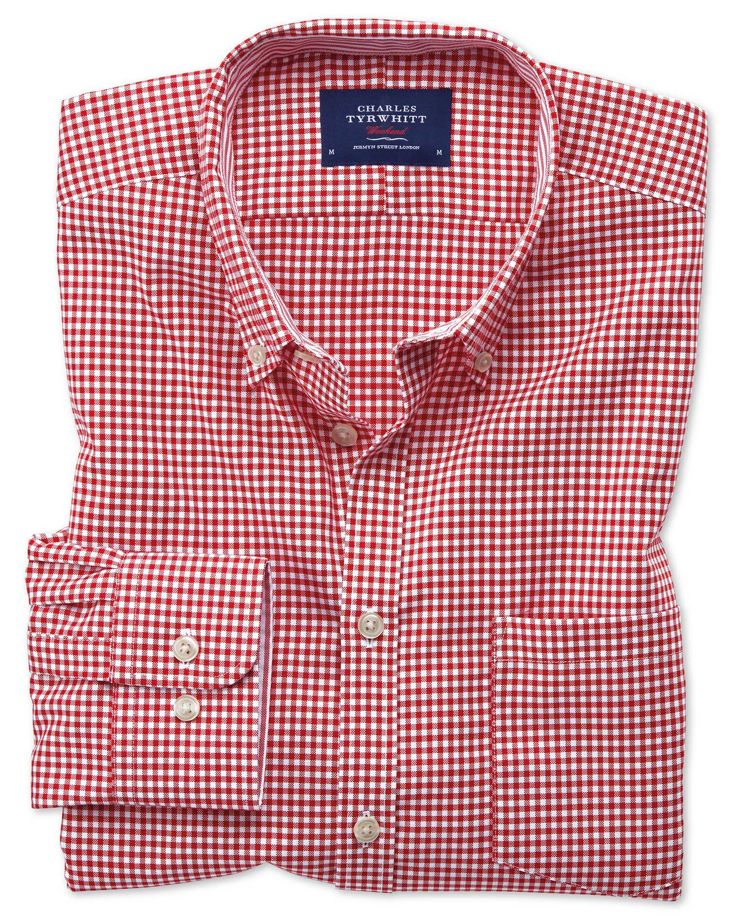 Classic Fit Button-Down Non-Iron Oxford Gingham Red Cotton Shirt Single Cuff Size Large by Charles T