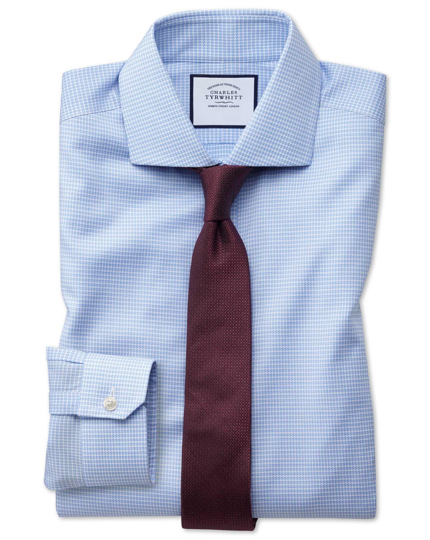 1f0d6e4c Super slim fit non-iron sky blue puppytooth Oxford stretch shirt | Charles  Tyrwhitt