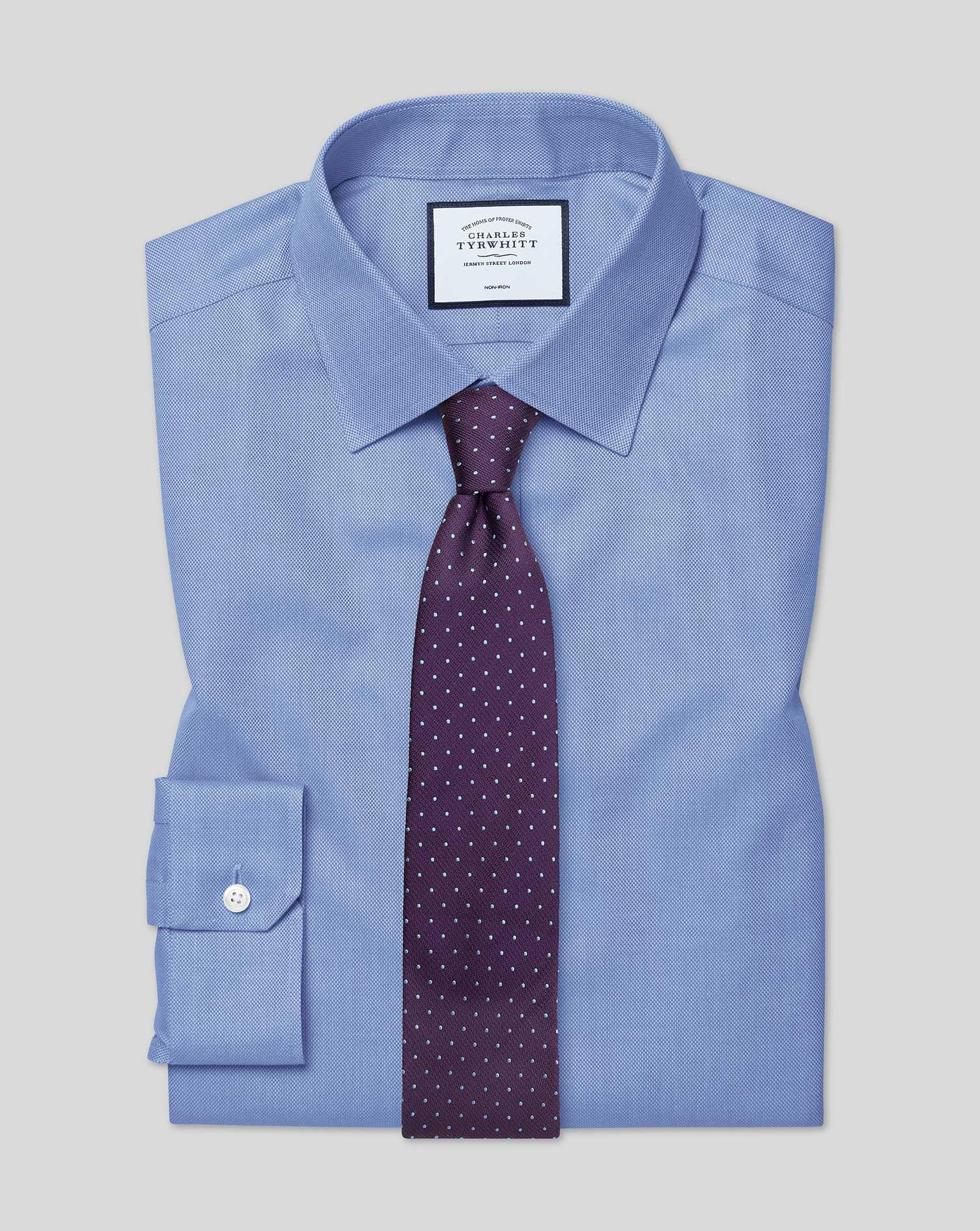 Cotton Super Slim Fit Non-Iron Royal Panama Blue Shirt