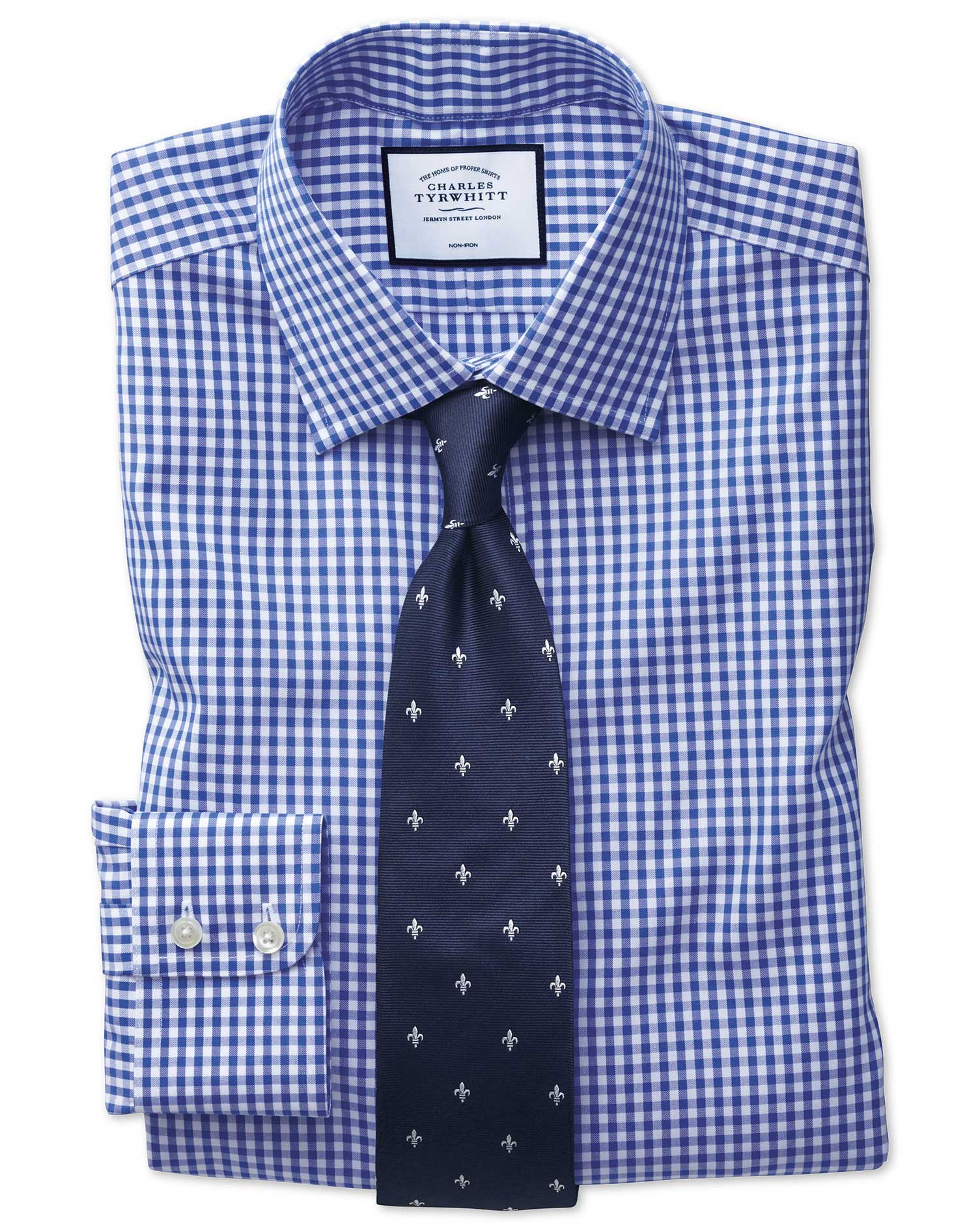 Slim Fit Non-Iron Twill Royal Blue Check Cotton Formal Shirt Single Cuff Size 17/35 by Charles Tyrwh