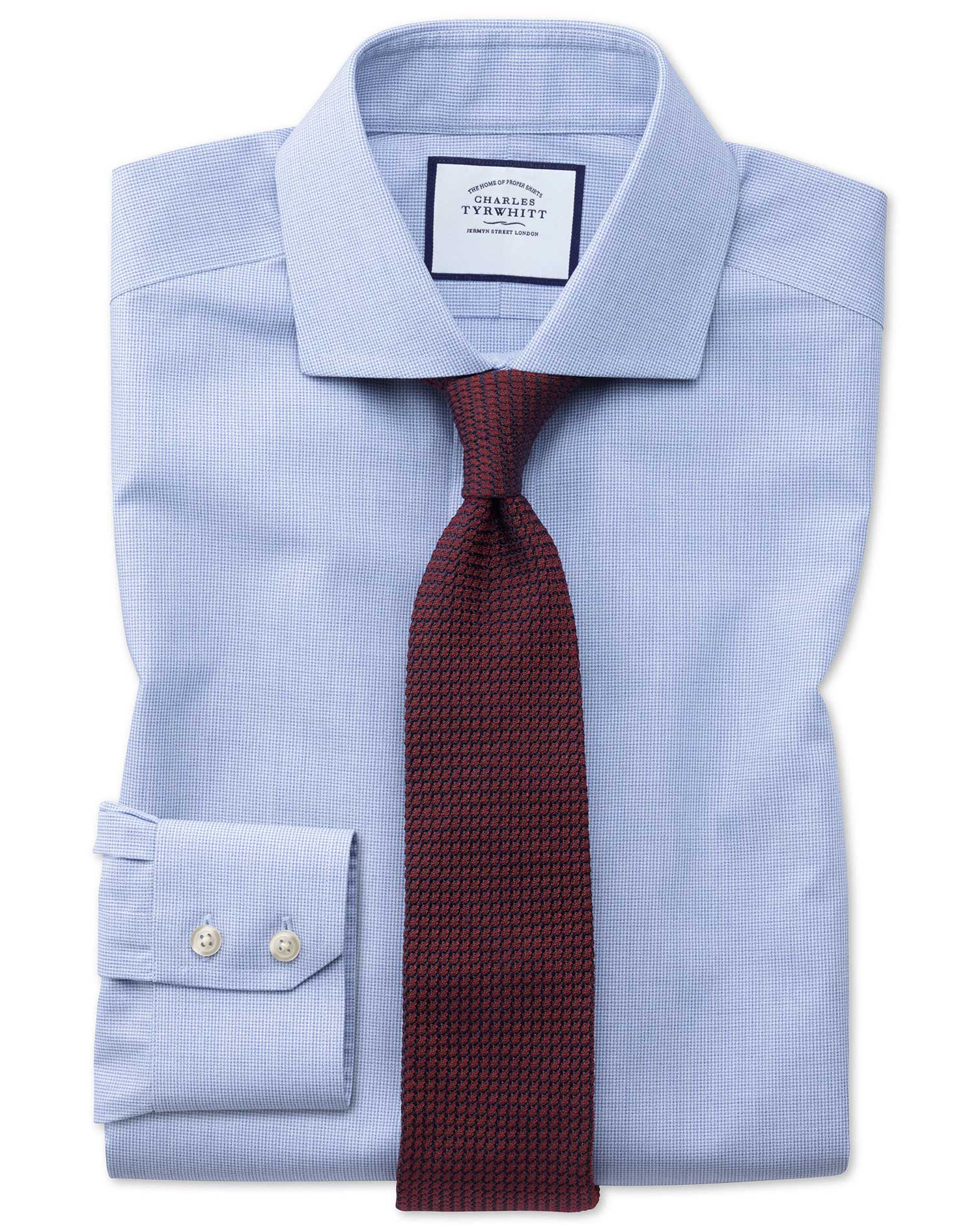 Extra Slim Fit Non-Iron Cutaway Collar Sky Blue Puppytooth Cotton Formal Shirt Single Cuff Size 17/3