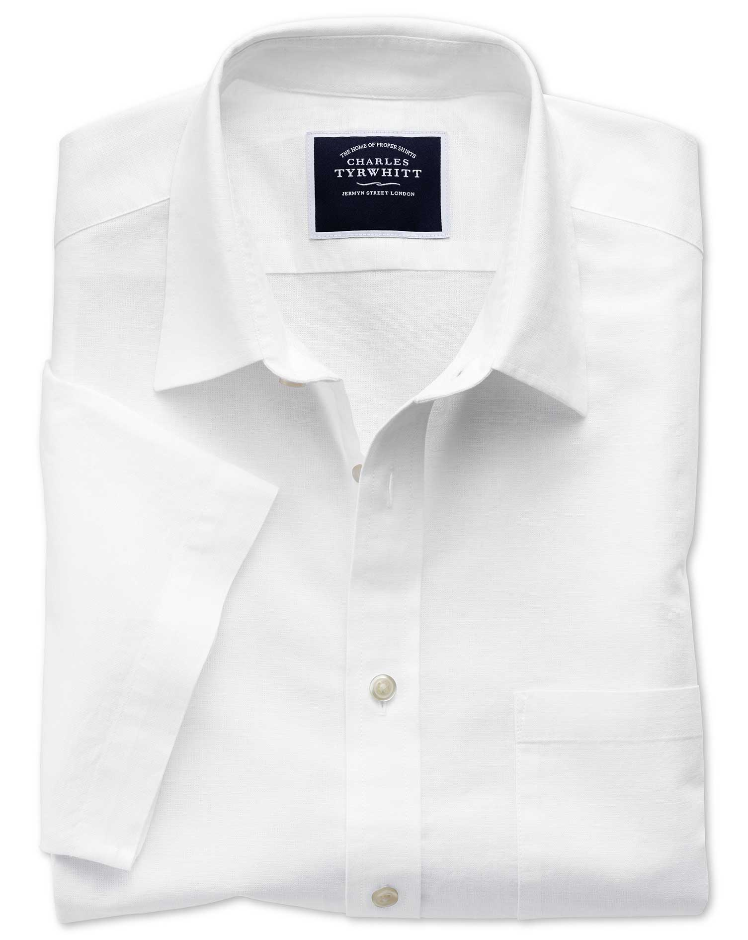 Classic Fit Cotton Linen Short Sleeve White Plain Shirt Single Cuff Size Large by Charles Tyrwhitt
