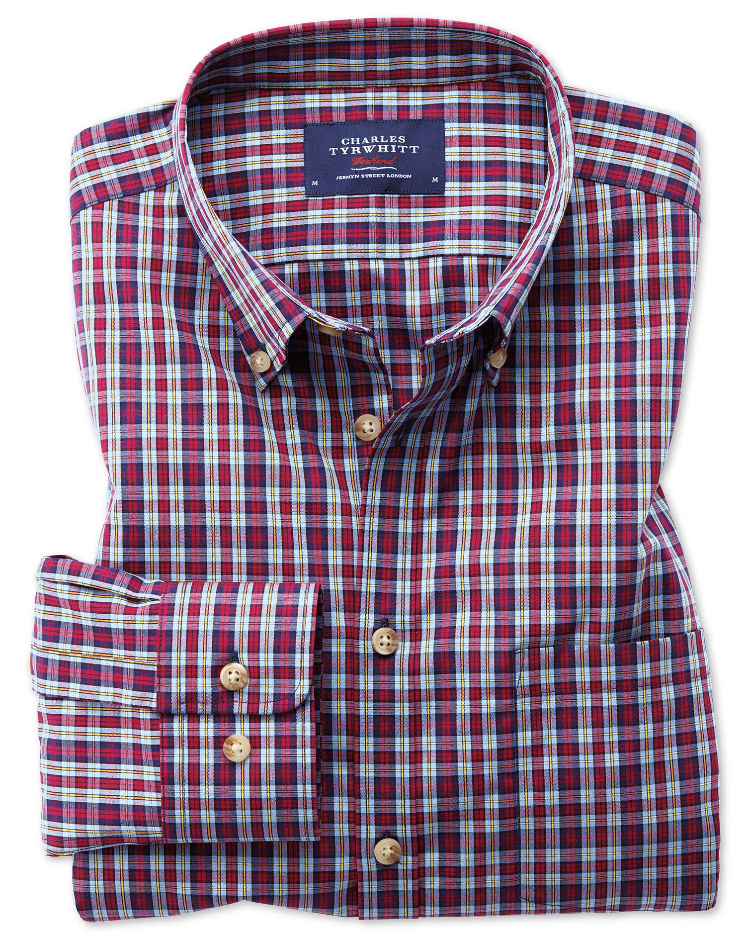 Slim fit button down non iron poplin blue and red check for Slim fit check shirt
