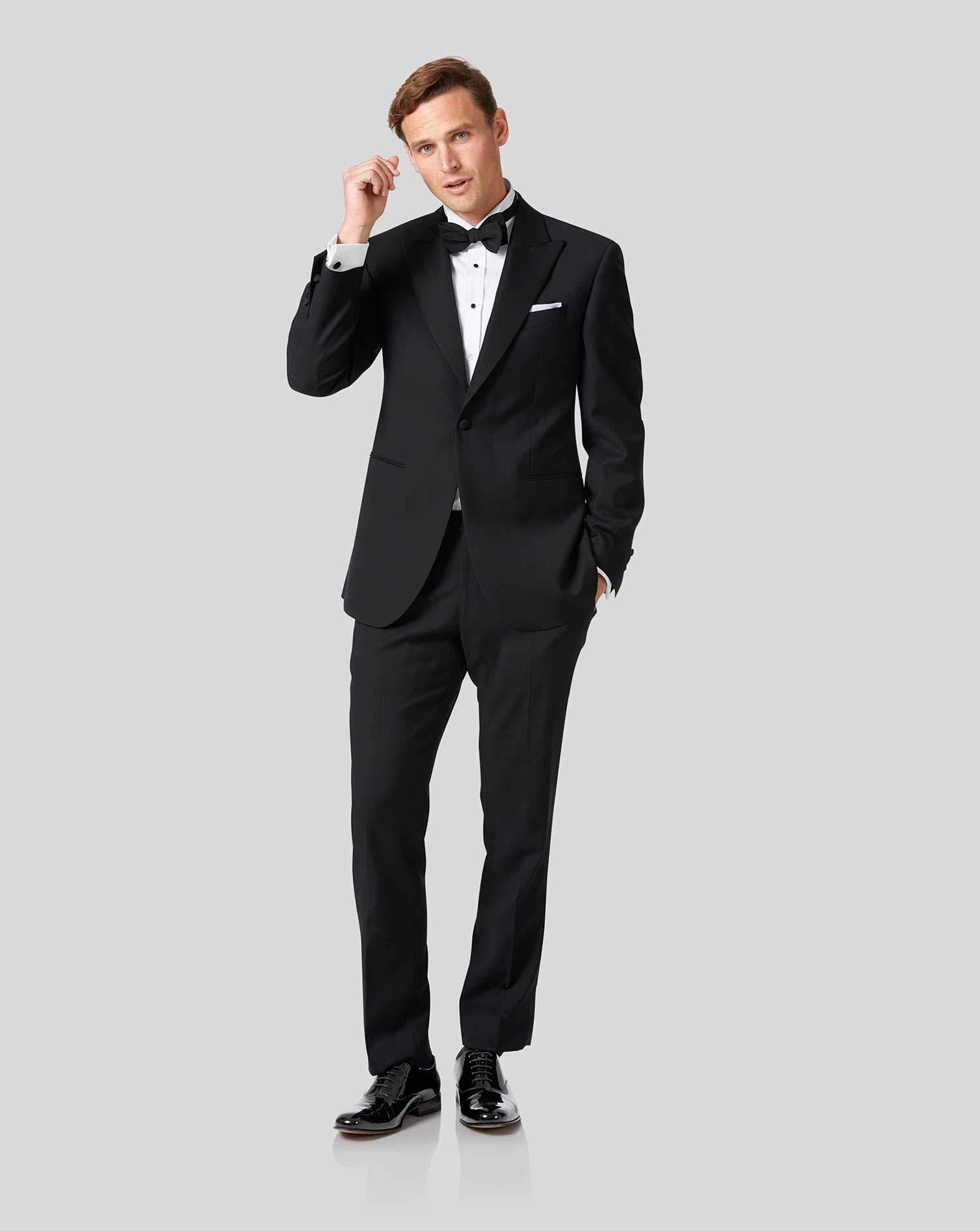 Black classic fit peak lapel tuxedo jacket