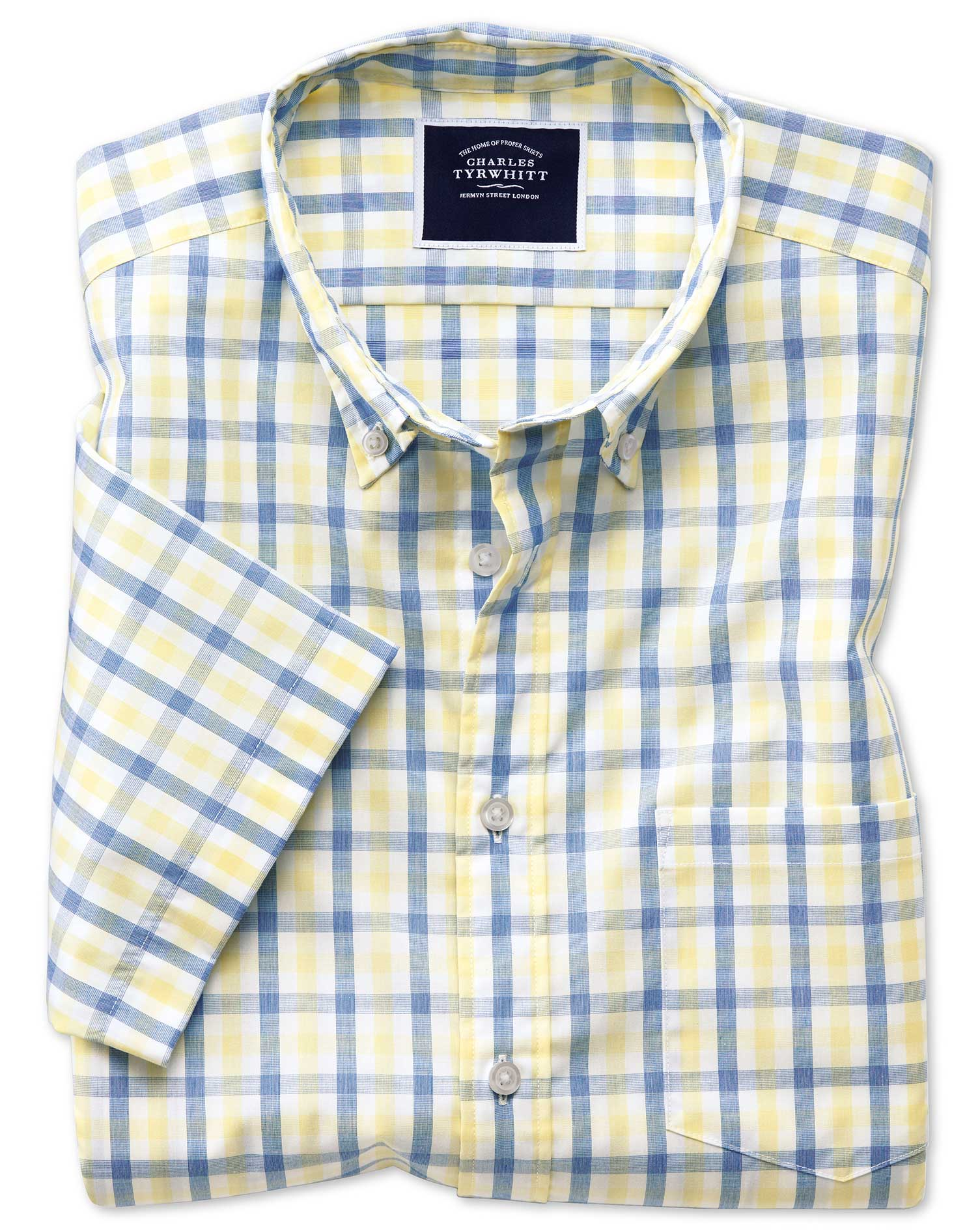 Classic Fit Yellow and Blue Short Sleeve Gingham Soft Washed Non-Iron Tyrwhitt Cool Cotton Shirt Sin