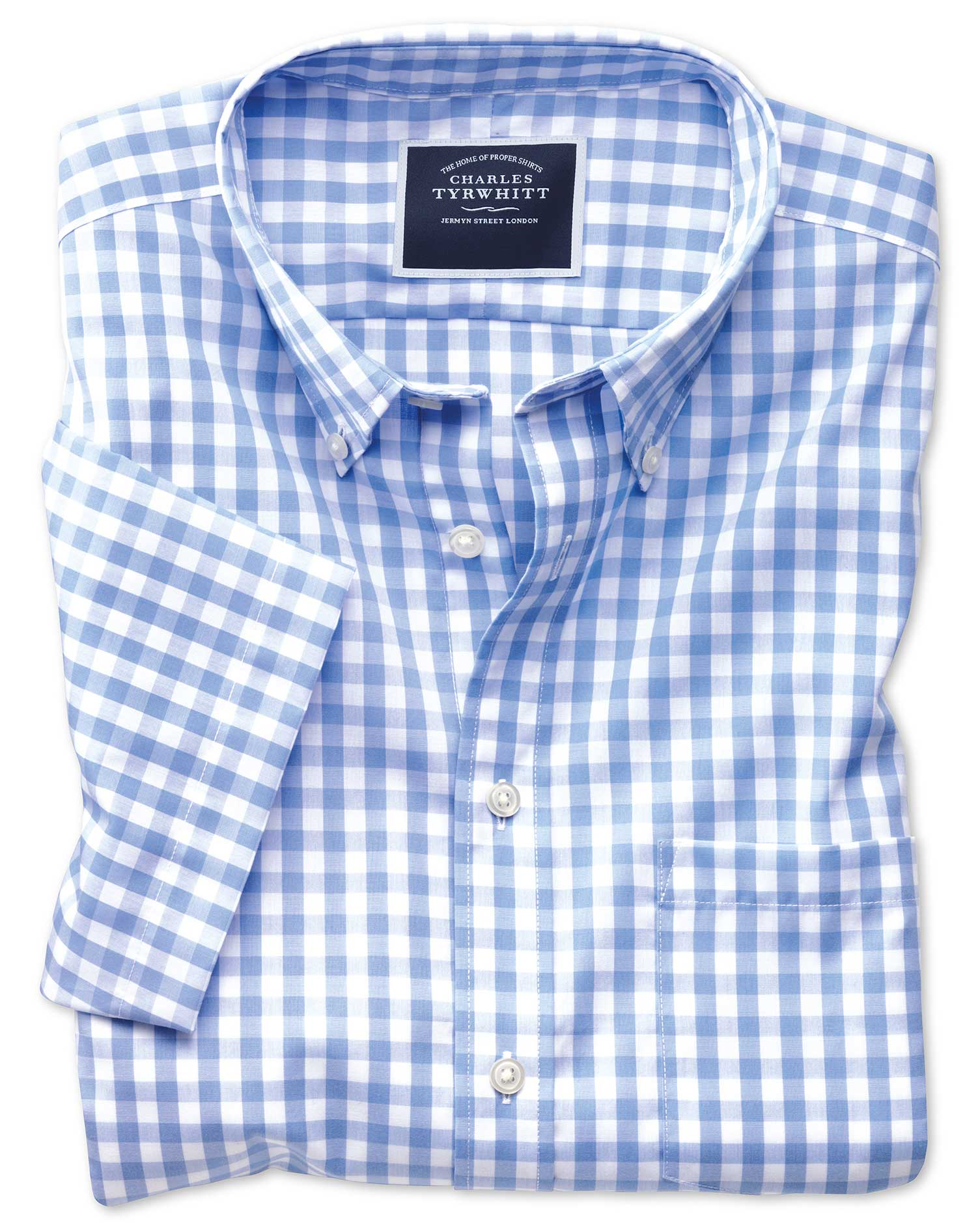 Slim Fit Button-Down Non-Iron Poplin Short Sleeve Sky Blue Gingham Cotton Shirt Single Cuff Size XXL